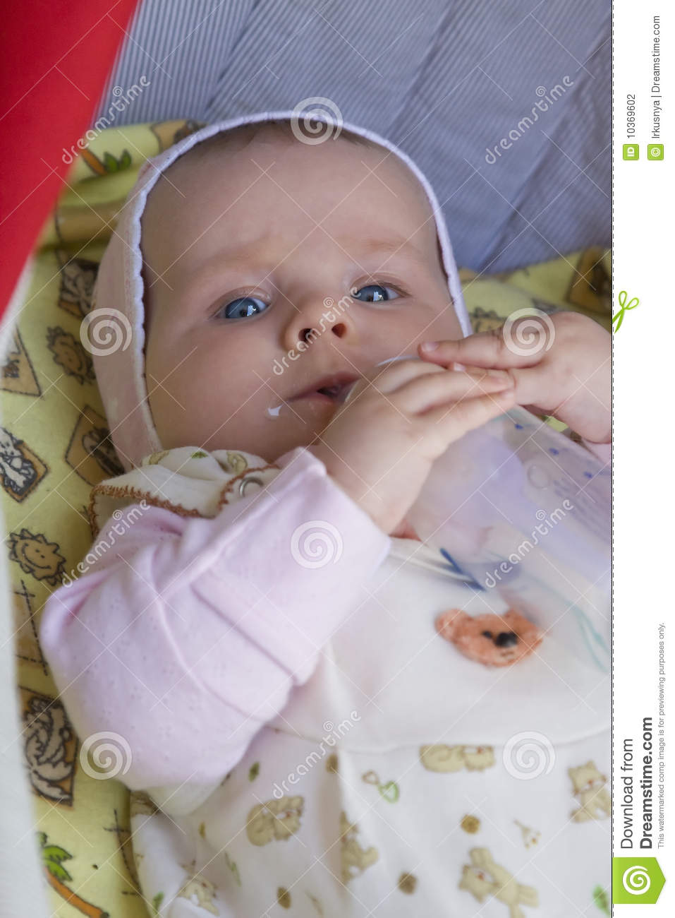 Baby drinking milk stock image. Image of expression ... |Happy Baby Drinking Milk
