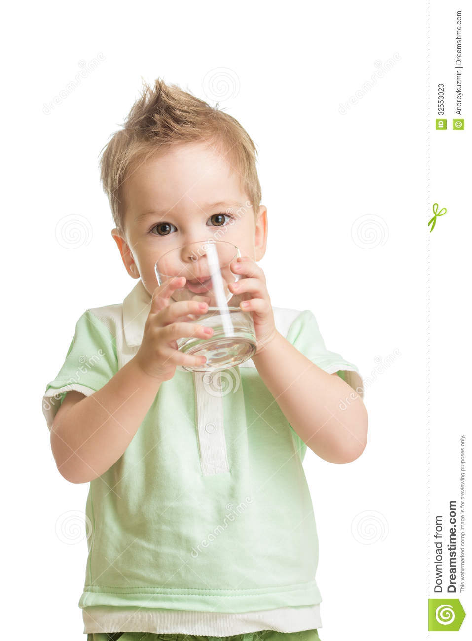 Baby Drinking Water From Glass Stock Image Image 32553023
