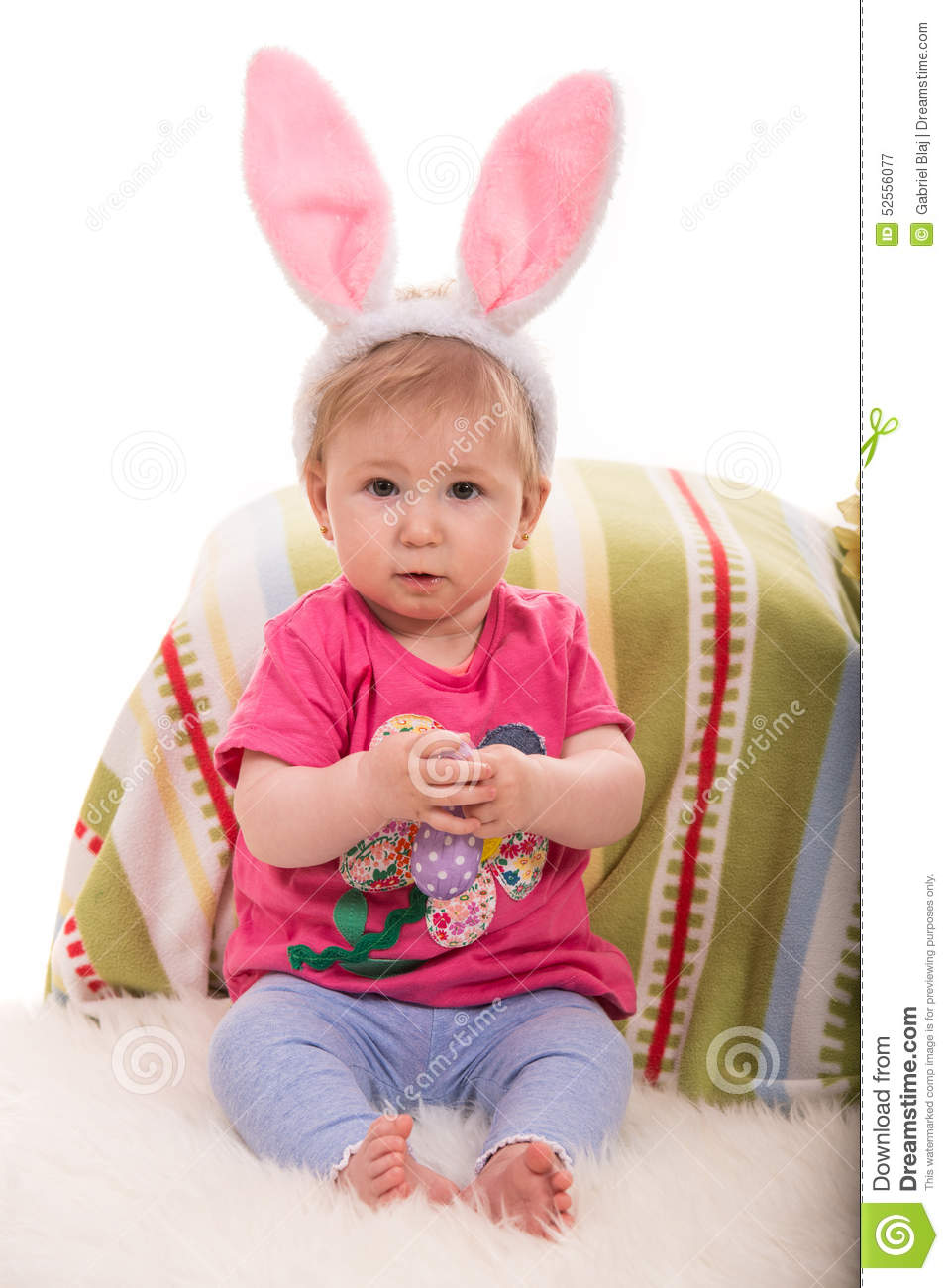 Baby Easter With Bunny Ears Stock Image Image Of Green