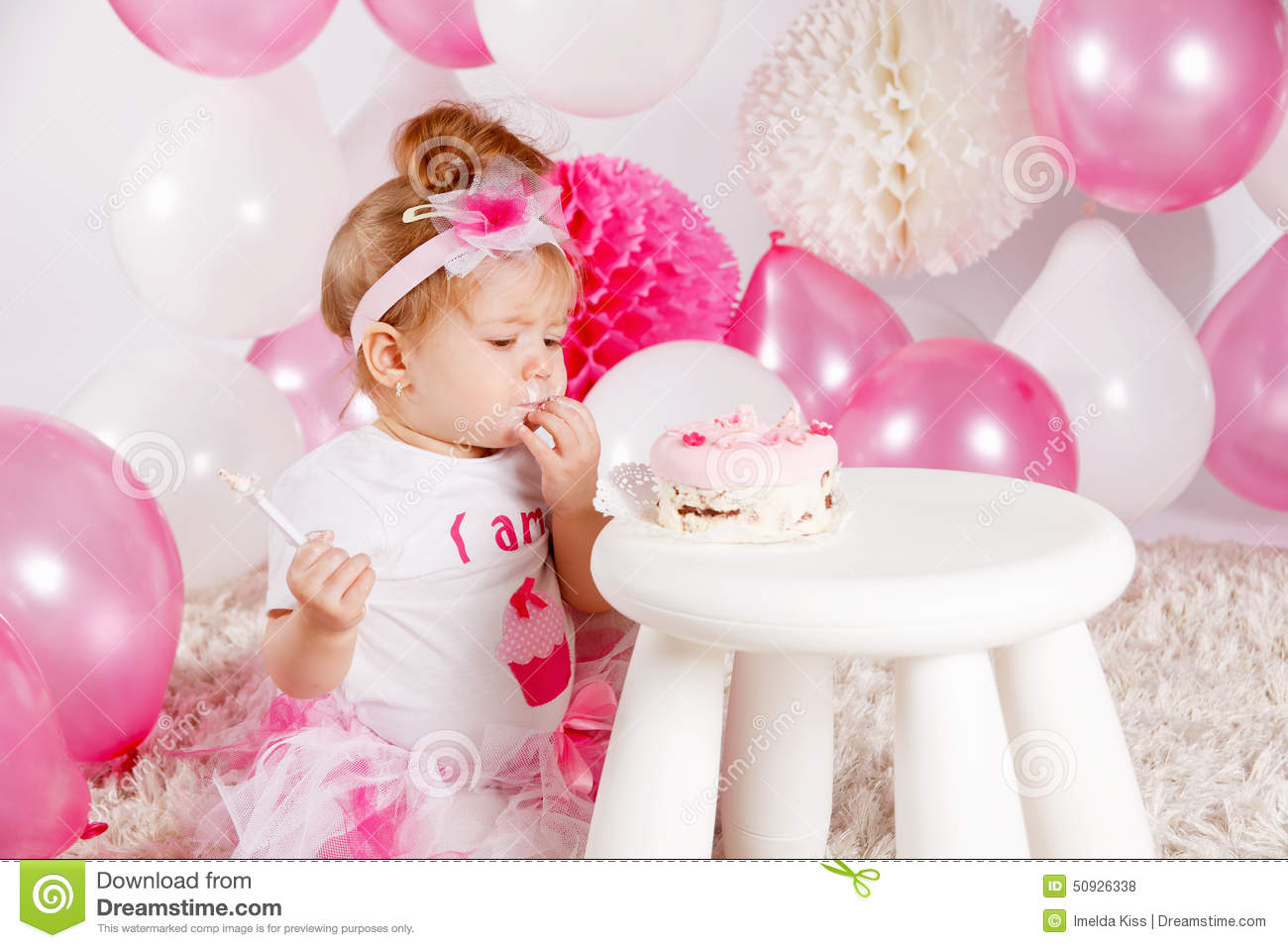 Baby Eating The Birthday Cake Stock Photo - Image: 50926338