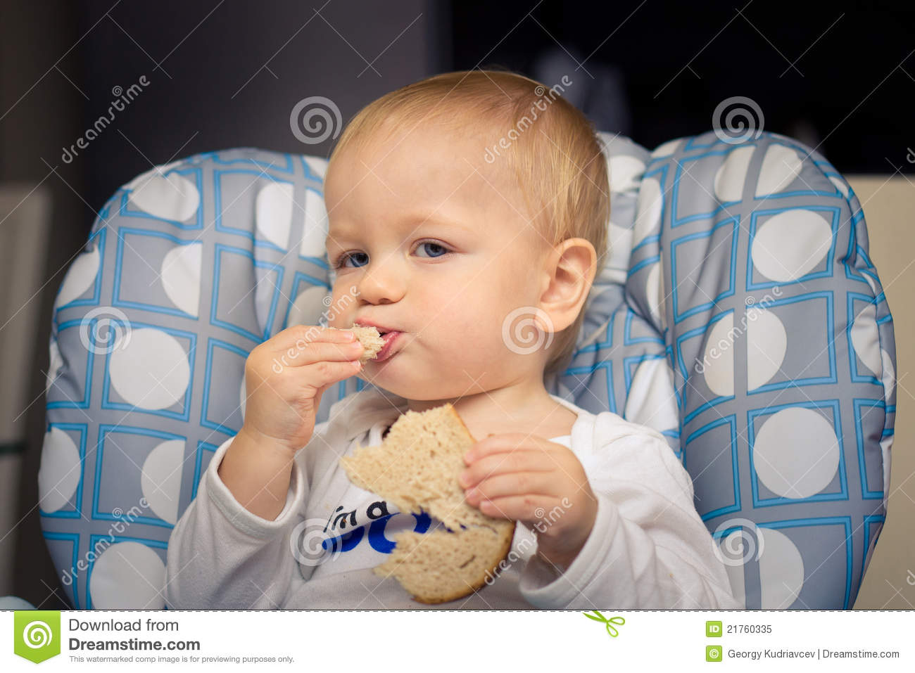 Baby Eating Bread Stock Image Image Of Chair Infant