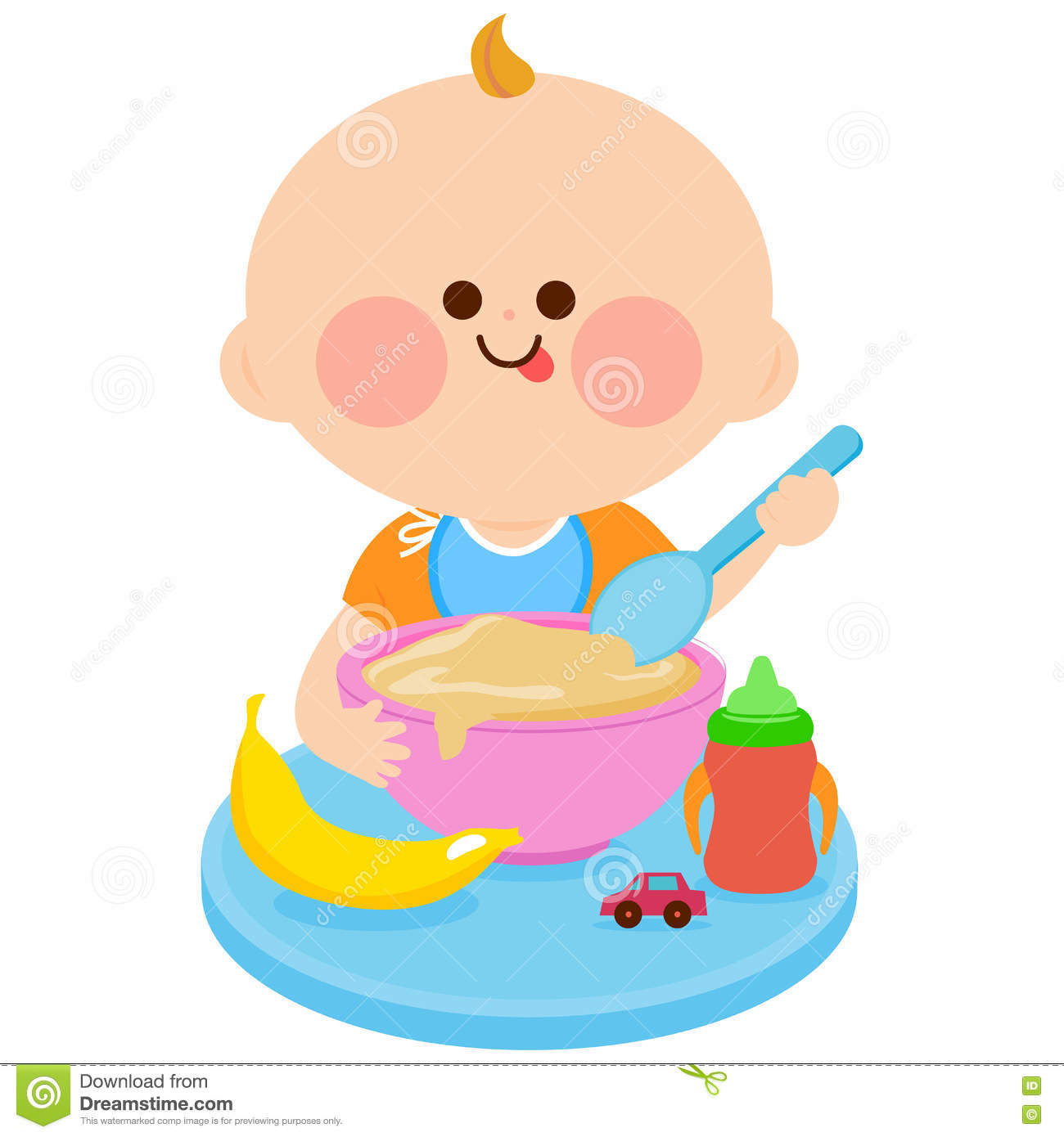 Baby eating cereal stock vector. Illustration of spoon ...