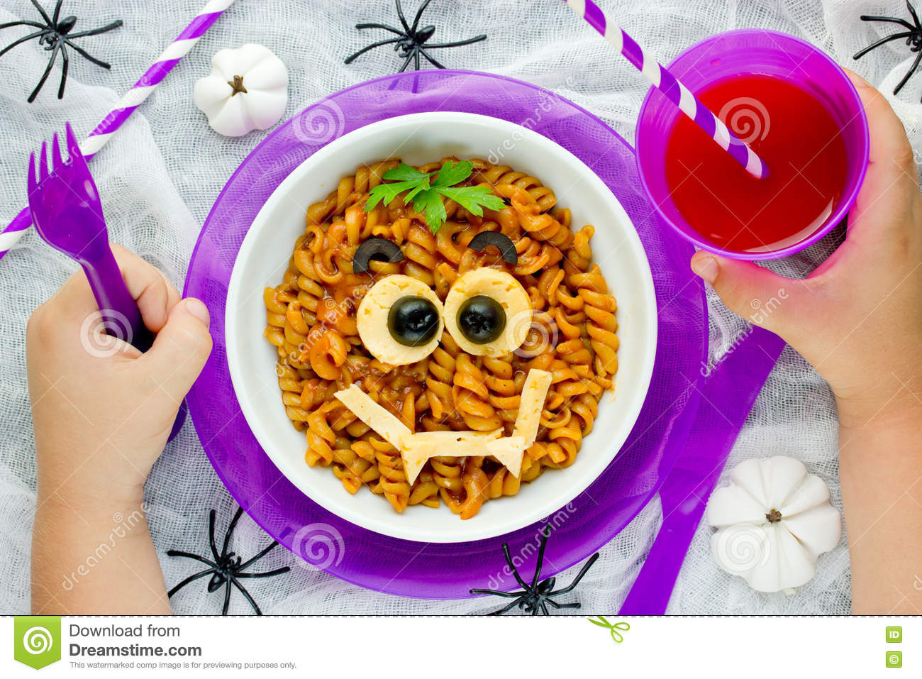 Baby eating funny and healthy meal concept pasta bolognese on royalty free stock photo forumfinder Image collections