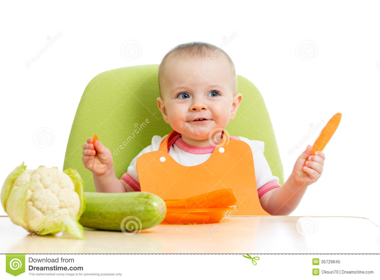 Baby Eating Healthy Vegetables Royalty Free Stock Photo  Image