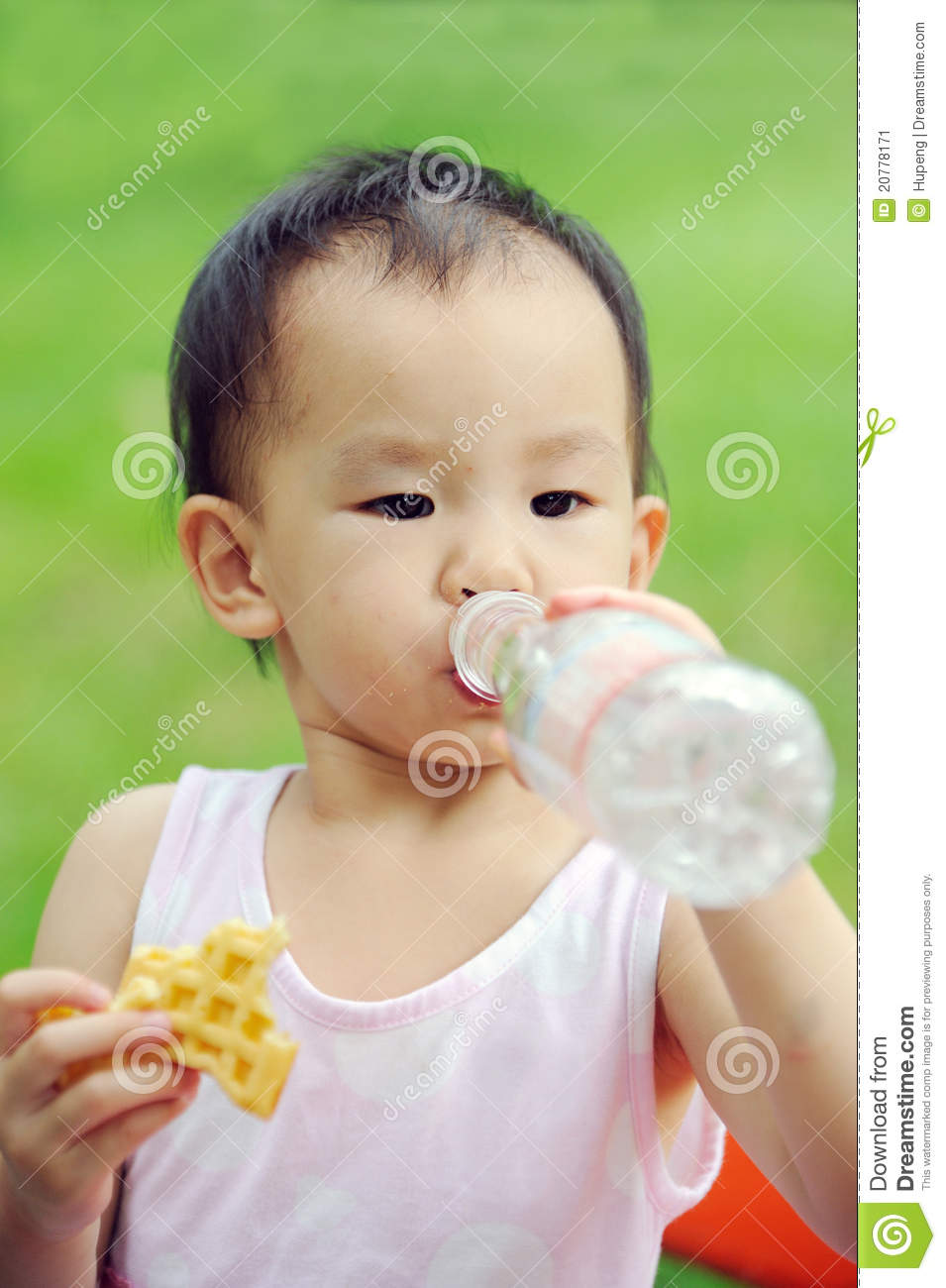 Baby Eating Waffle And Drink Water Stock Image Image
