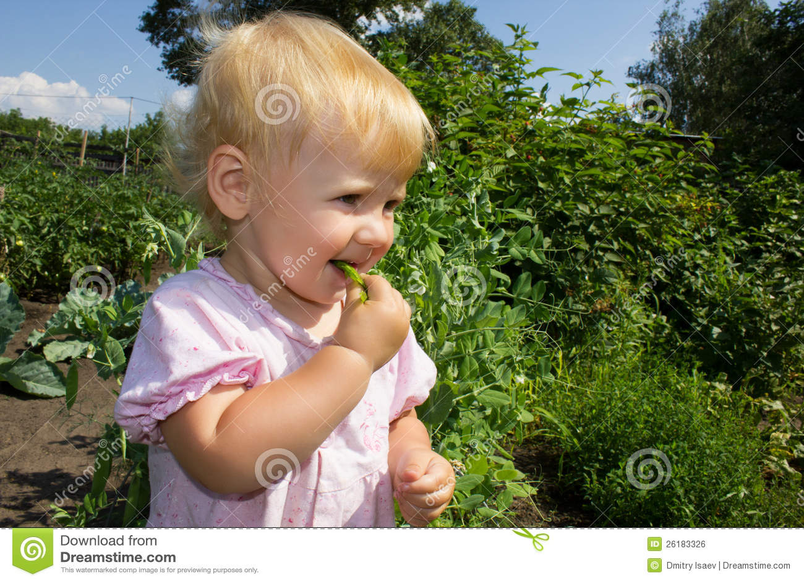 Baby eats peas 4873