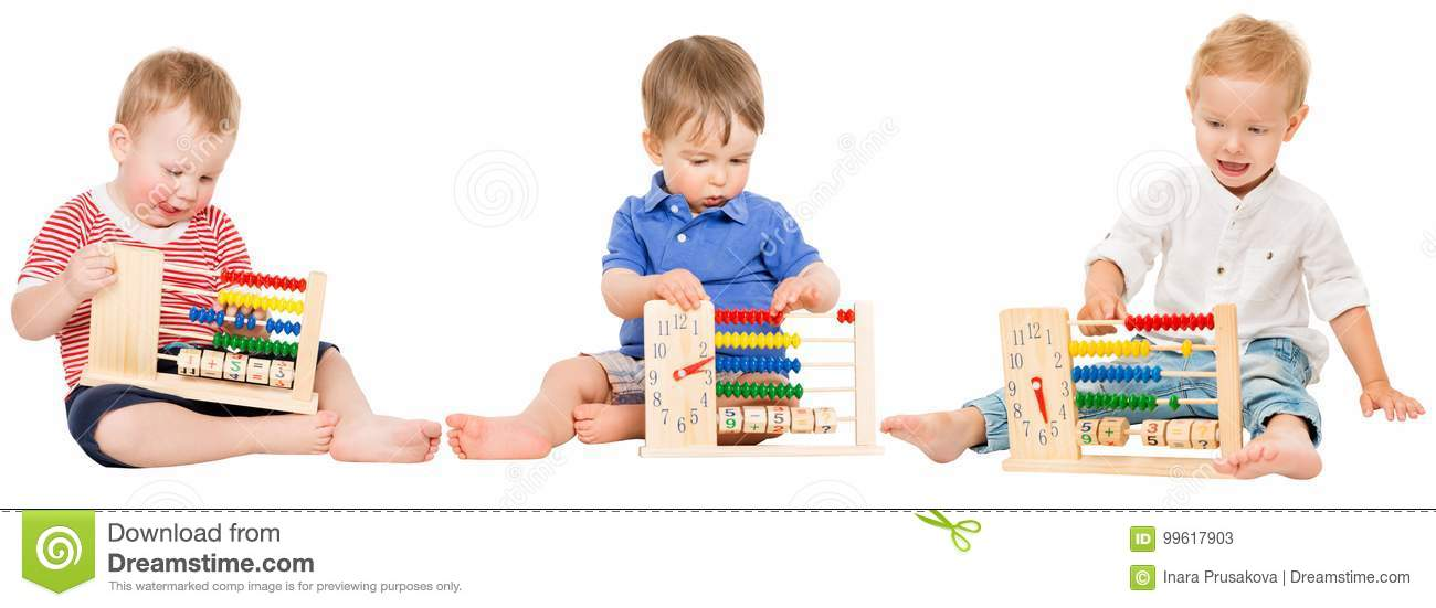 Baby Education, Children Playing Abacus, Kids Learning Math Stock ...