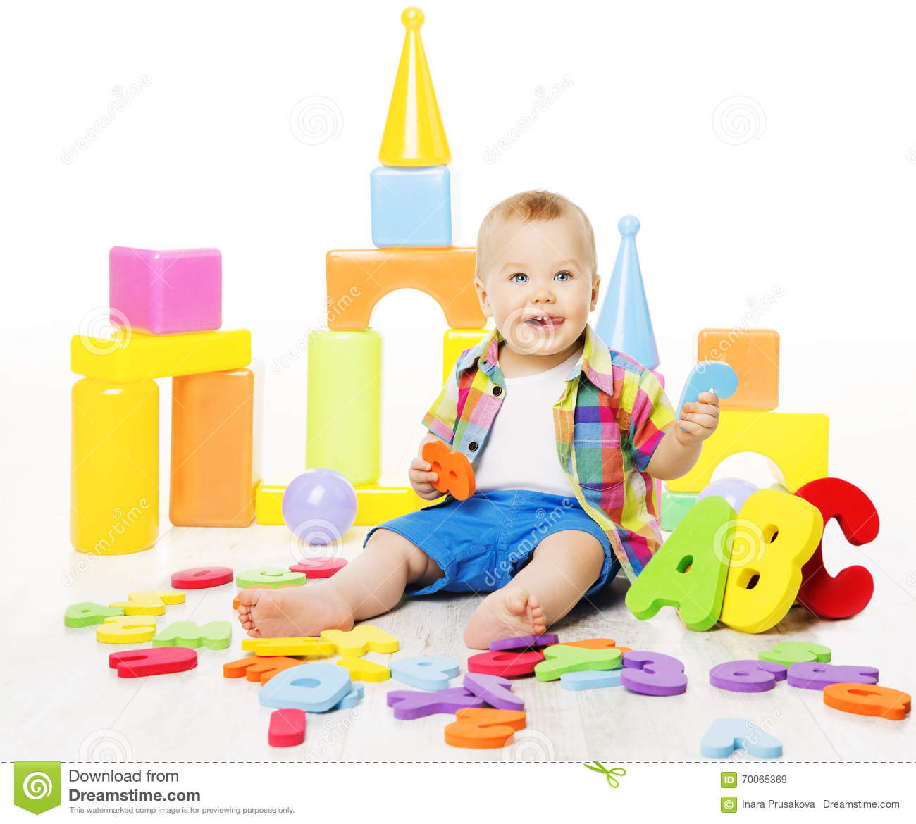 Smile Educational Toys : Children play with toys vector illustration