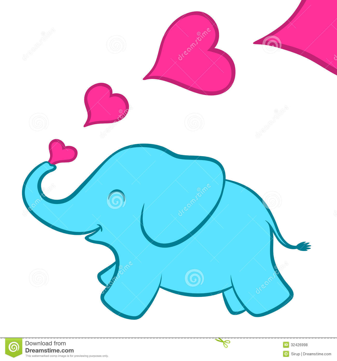 Baby Elephant Calf With Pink Hearts Royalty Free Stock Photos - Image ...
