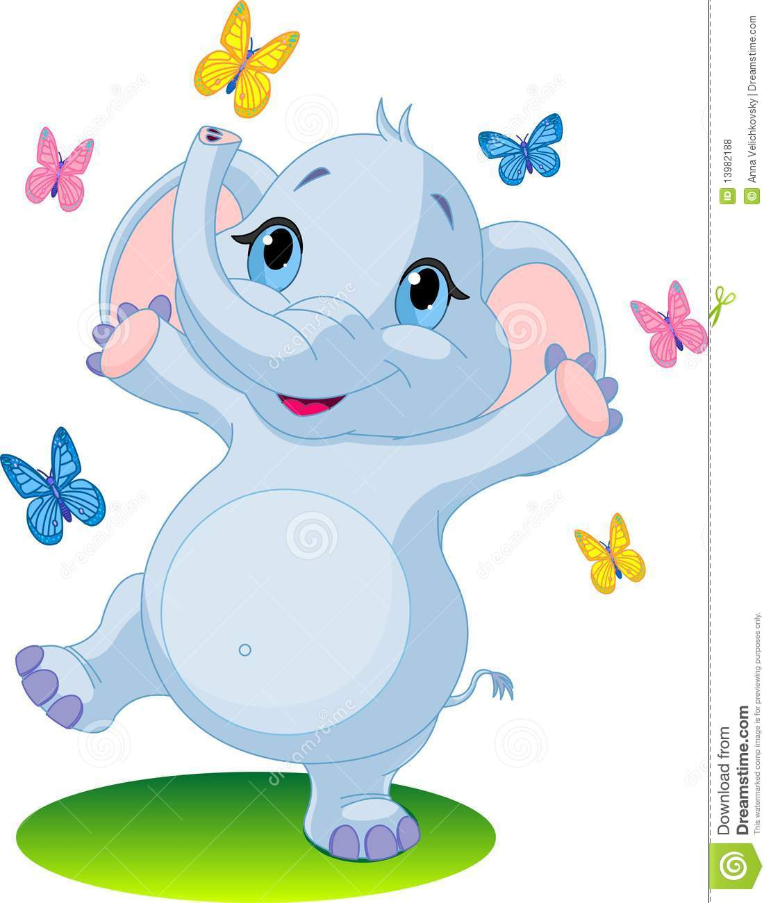 Dancing Babies Cute: Baby Elephant Dancing With Butterflies Stock Illustration