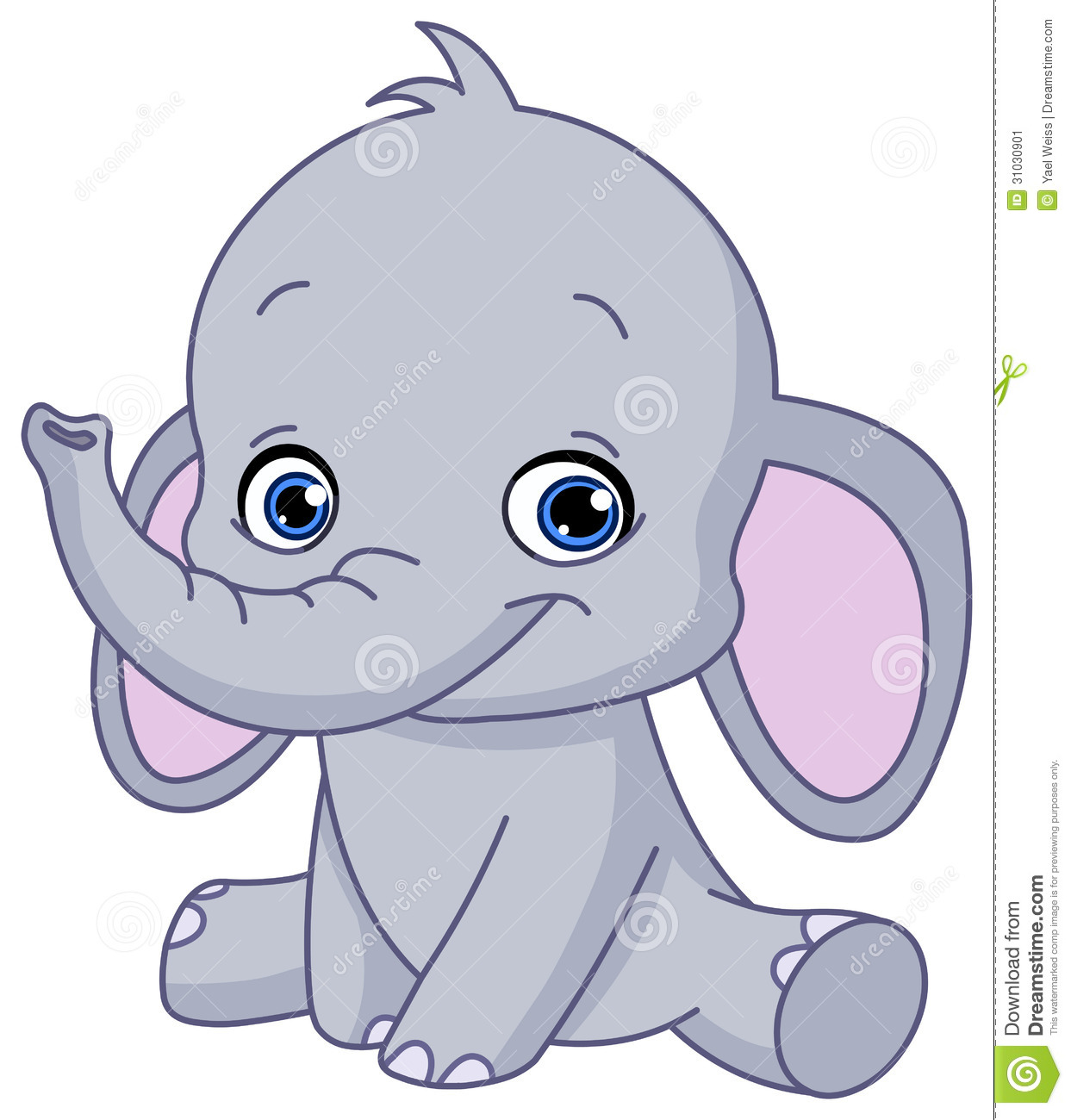 Baby elephant stock vector. Image of friendly, character ...