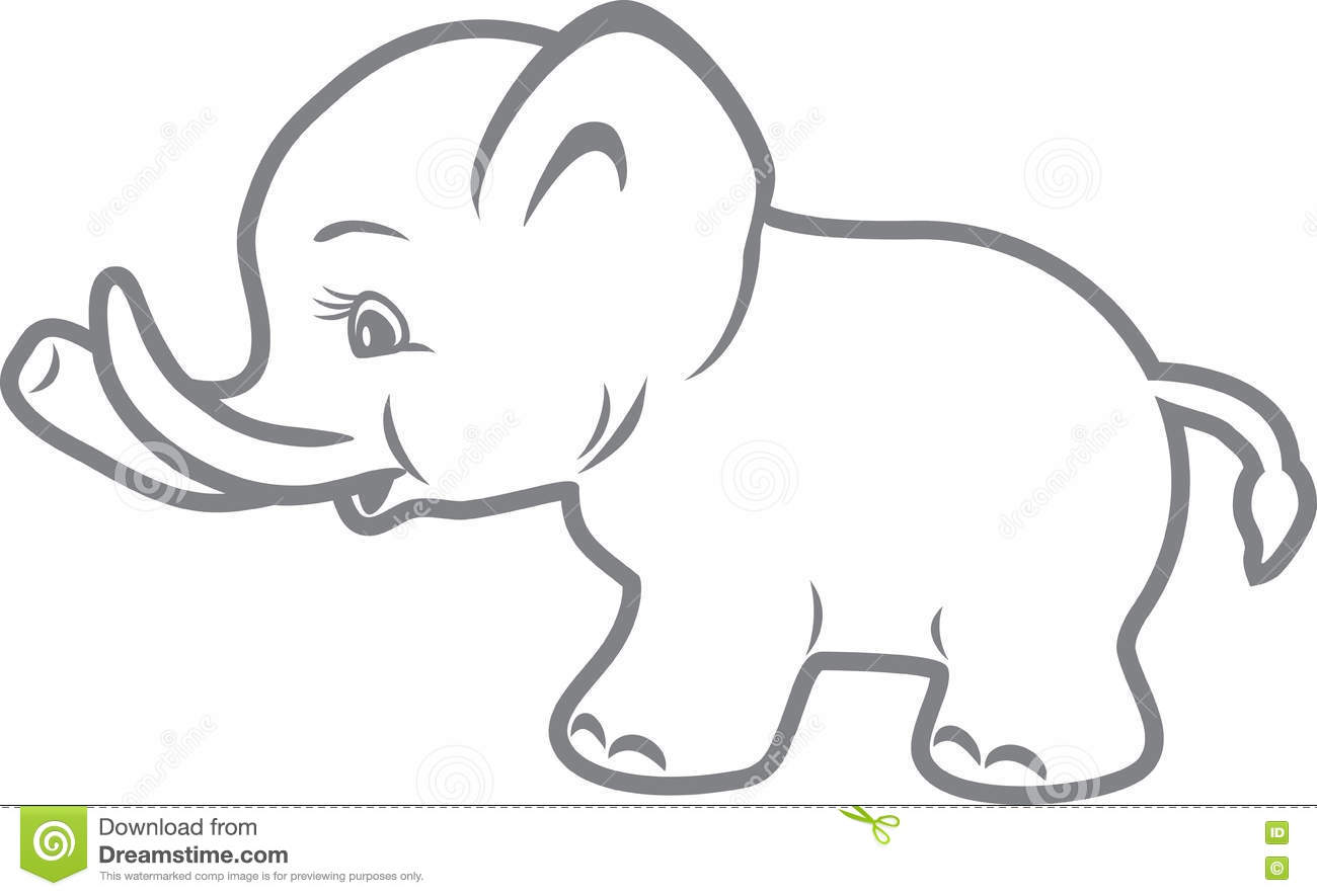 Baby Elephant. Outline Drawing Stock Vector - Illustration ...