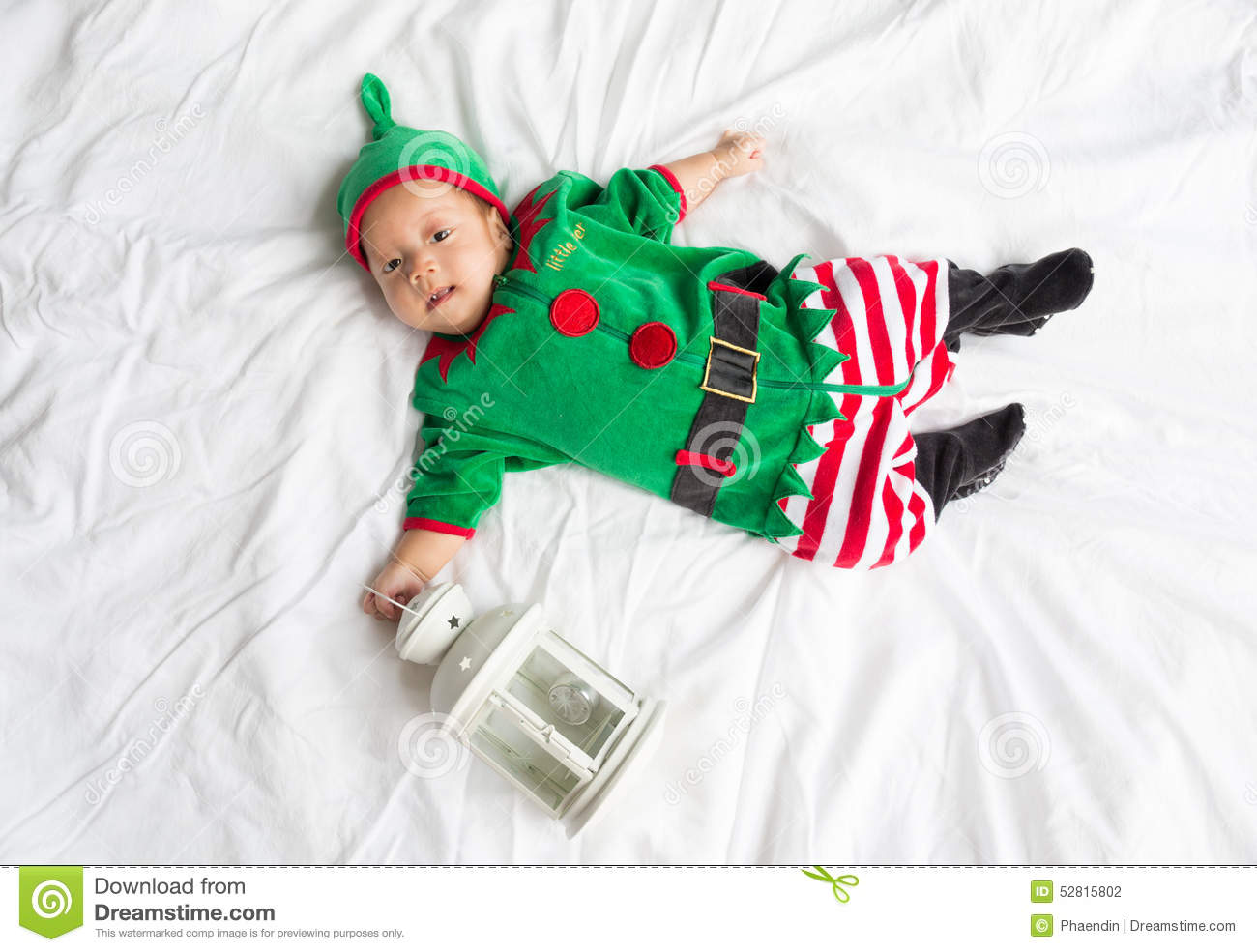 Baby in elf costume for christmas holiday on white  sc 1 st  Dreamstime.com & Baby In Elf Costume For Christmas Holiday On White Stock Photo ...
