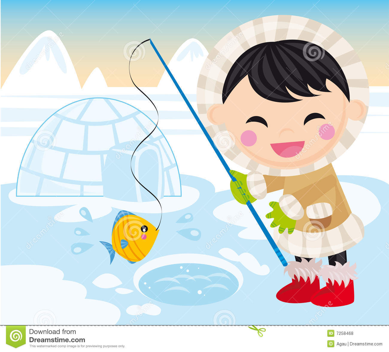 Baby eskimo stock vector. Image of water, home, cold ...