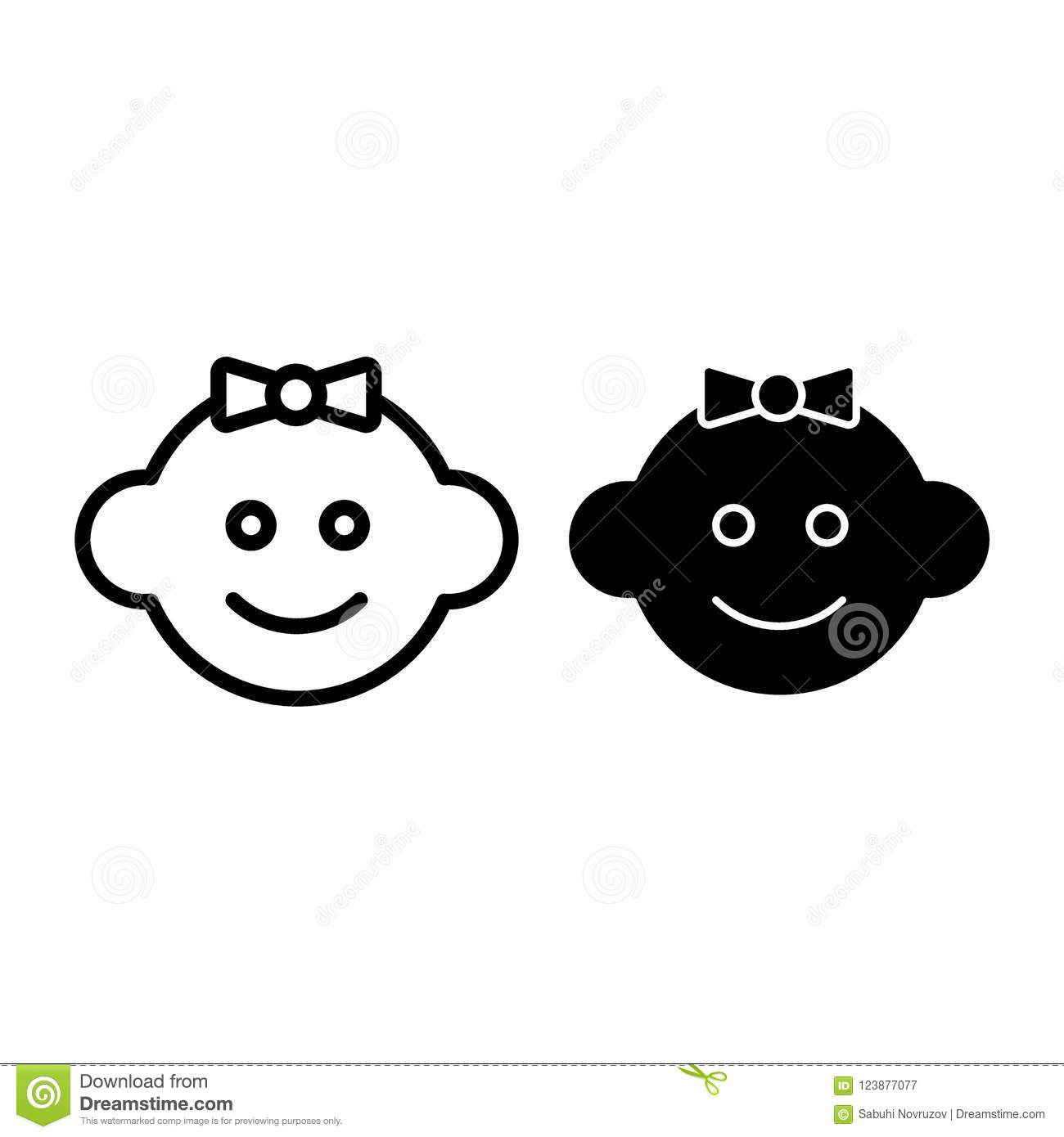 Baby Face Line And Glyph Icon  Child Vector Illustration Isolated On
