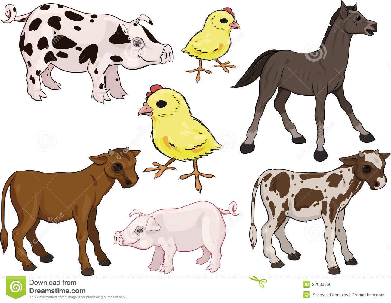 Baby Farm Animals Set Royalty Free Stock Image - Image: 22680856