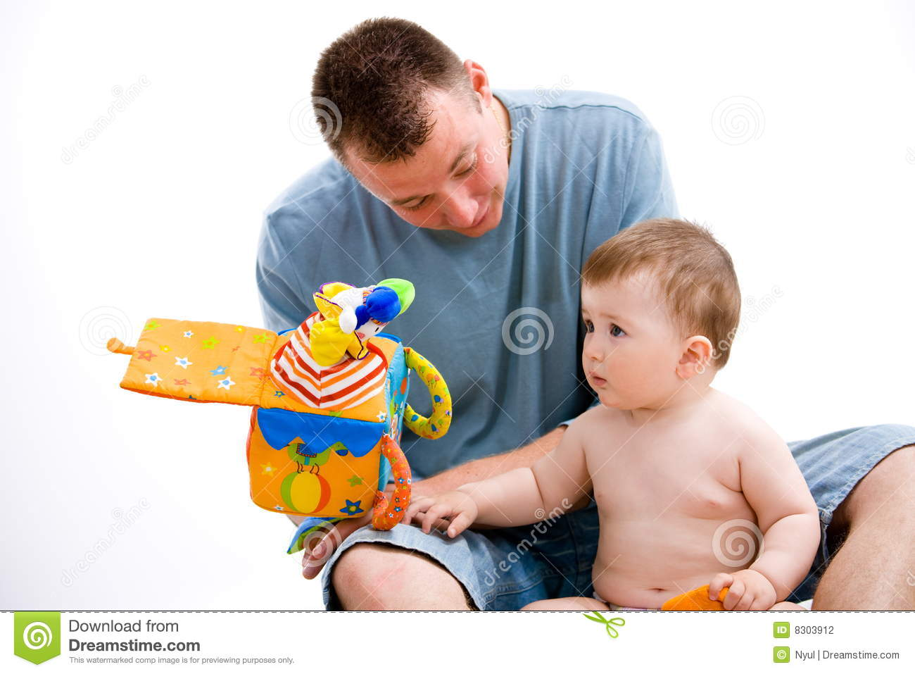 Baby father playing