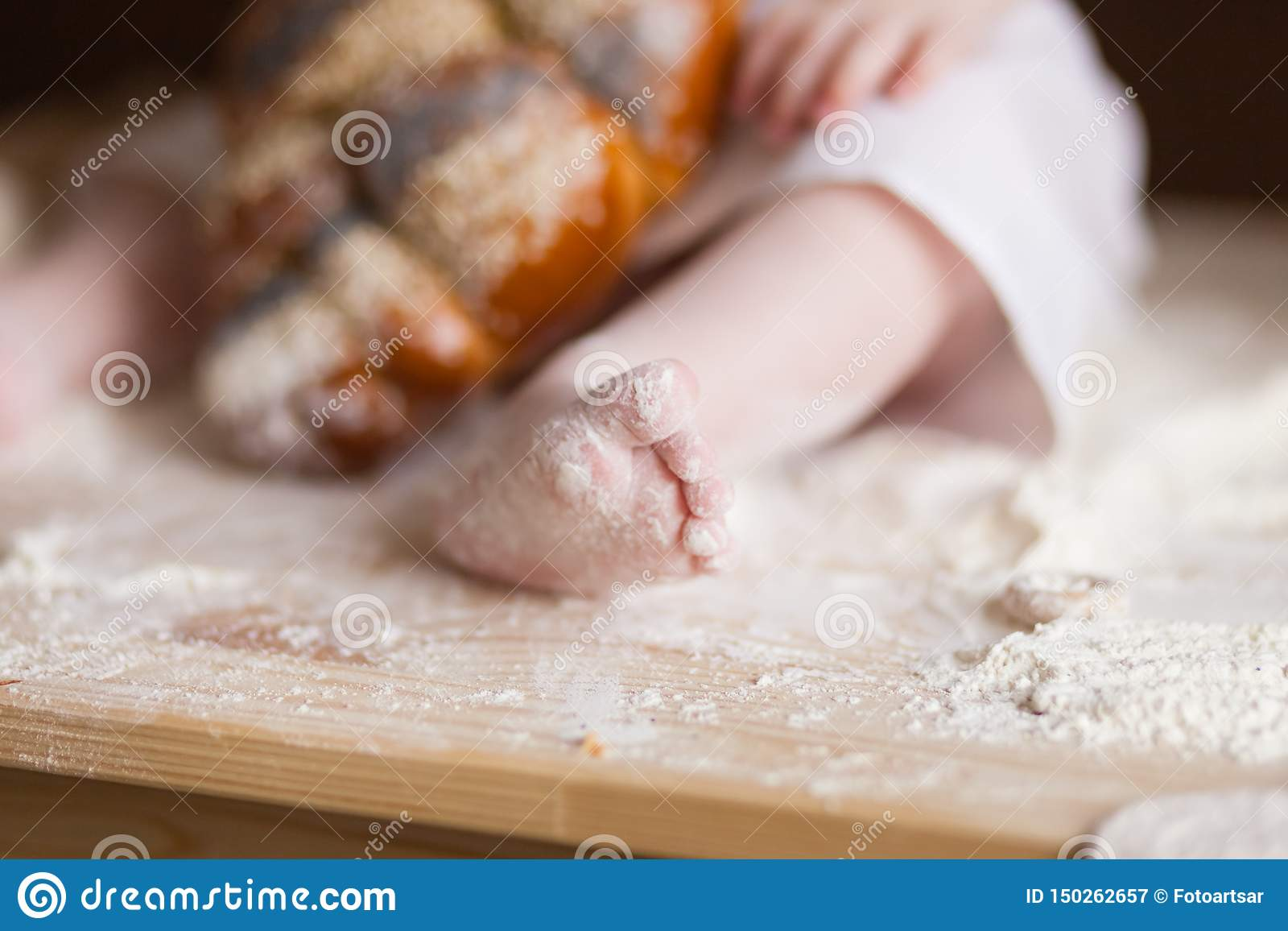 Baby Feet In Flour, Buns, Bread, Bagels, Kitchen Still Life