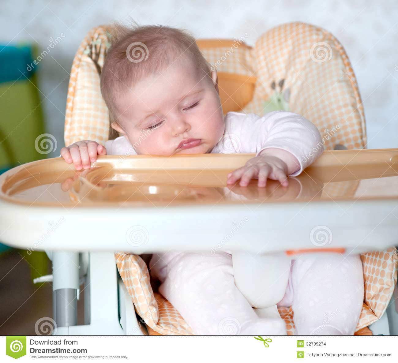 Baby fell asleep after eating stock photo image 32799274 for Eating table