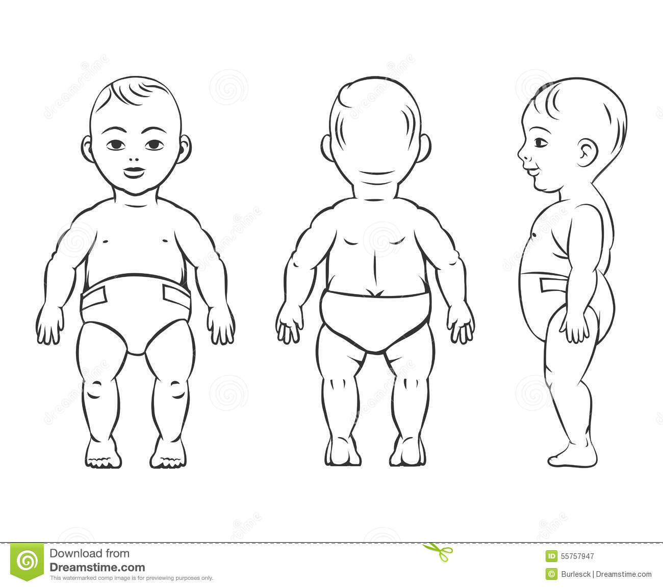 Baby Figure Front Side And Back View Stock Vector