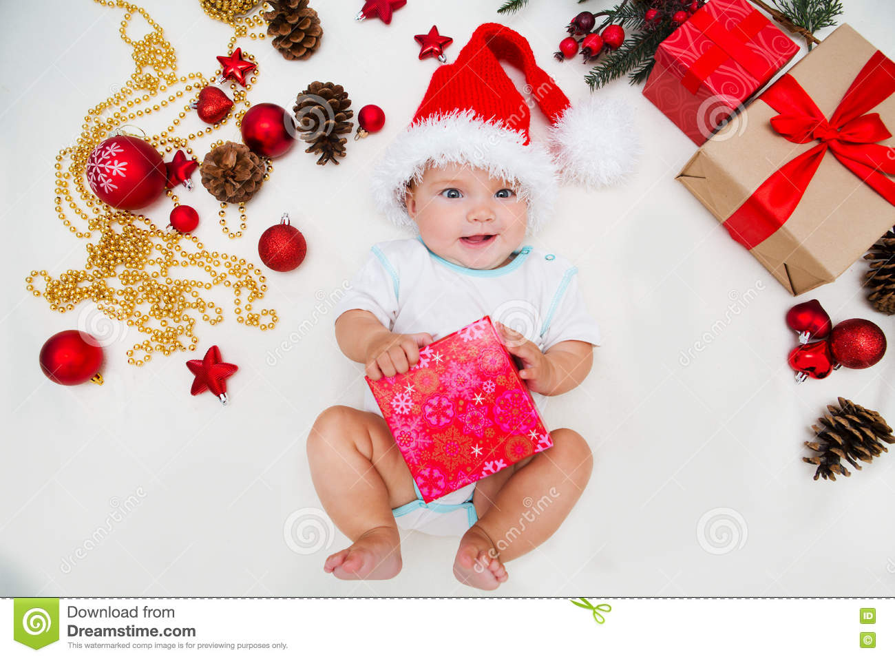 59257773b02b1 Baby first christmas. stock photo. Image of life