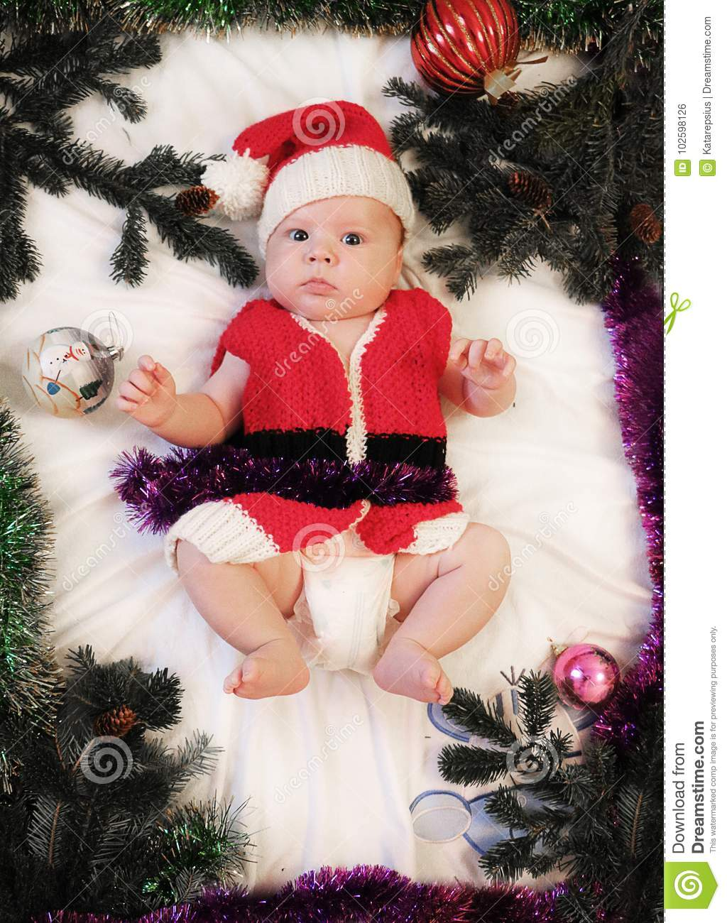 Baby First Christmas Beautiful Little Baby In Santa Hat And Jac