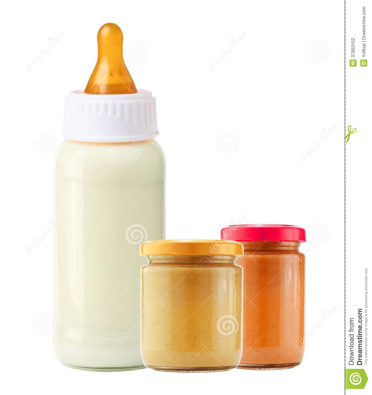 Baby Food And And Milk Bottle Isolated On White Stock
