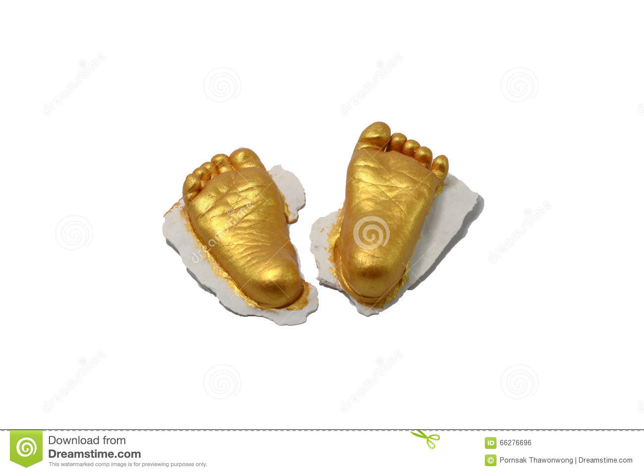 Baby Foot Print Gold Color In Gypsum