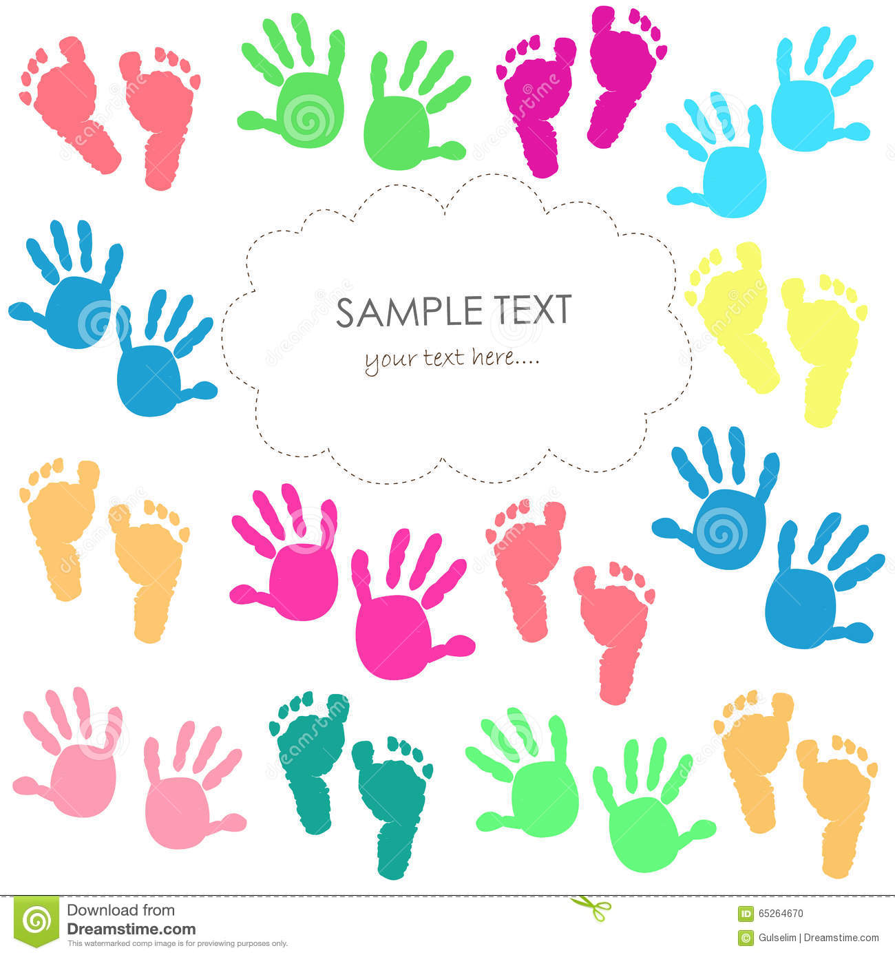 Baby Foot Print And Hands Kids Colorful Greeting Card