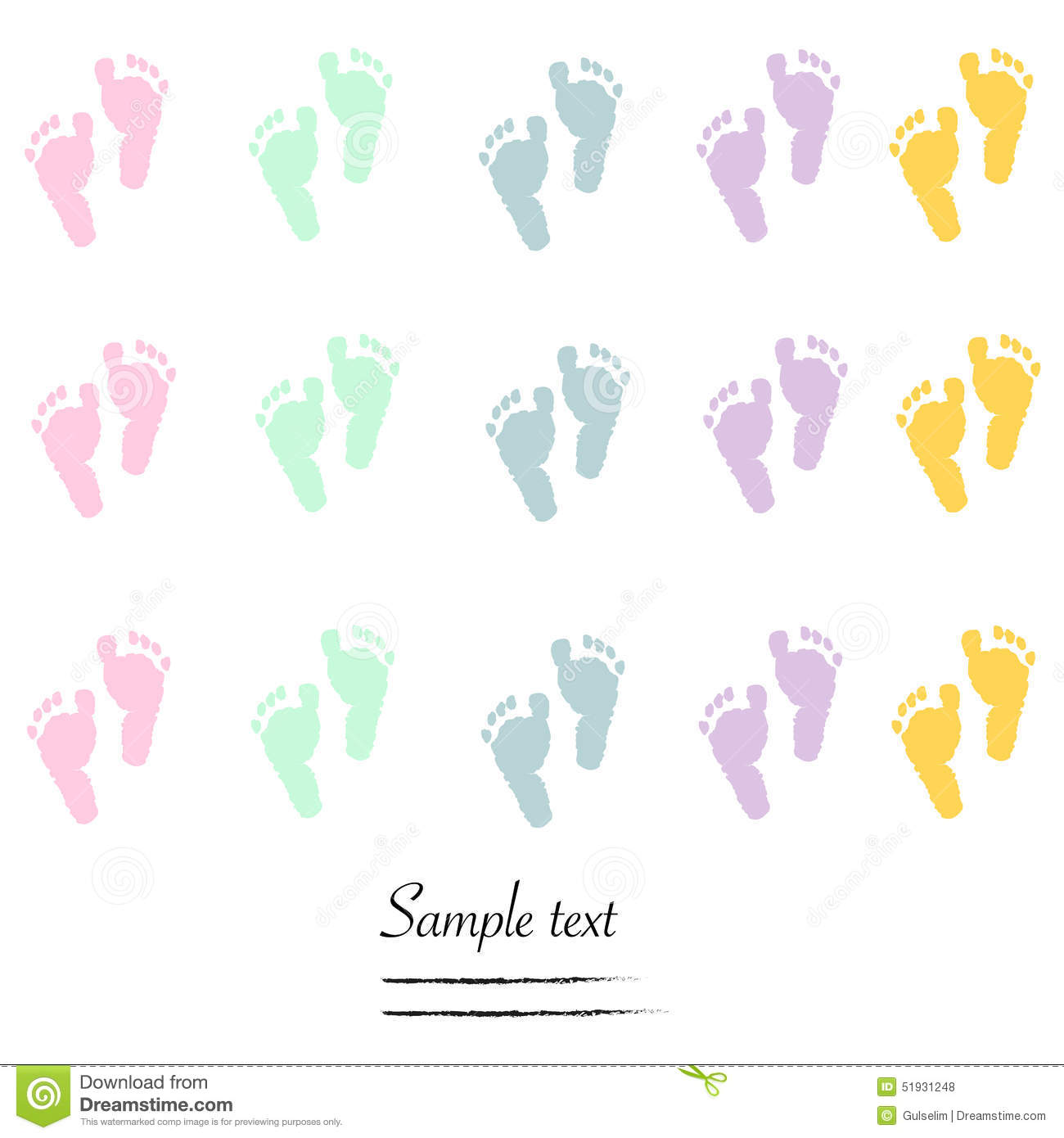 baby foot prints baby shower greeting card stock vector