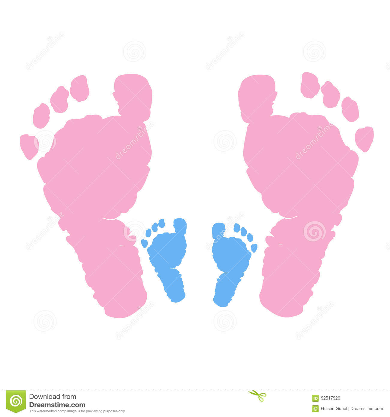 baby foot prints and family baby girl baby boy baby symbol stock