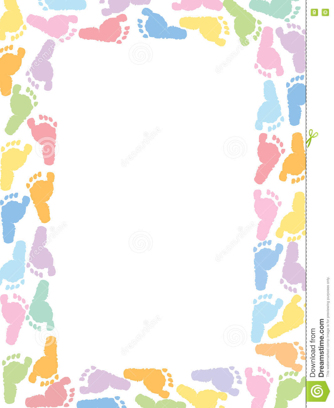 baby foot prints pastel coloured vector illustration stock