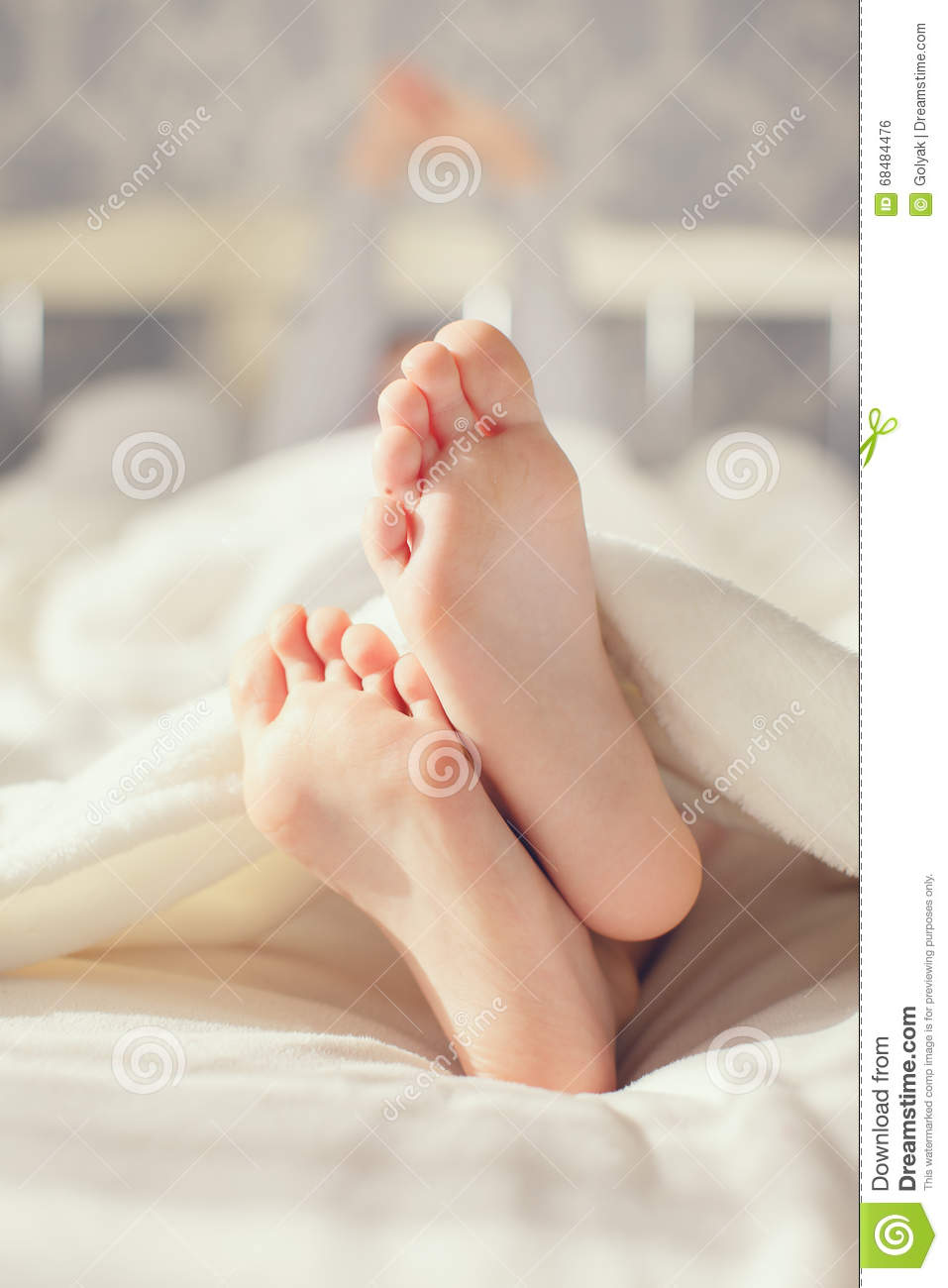 Baby Foot In White Blanket Stock Photo Image Of