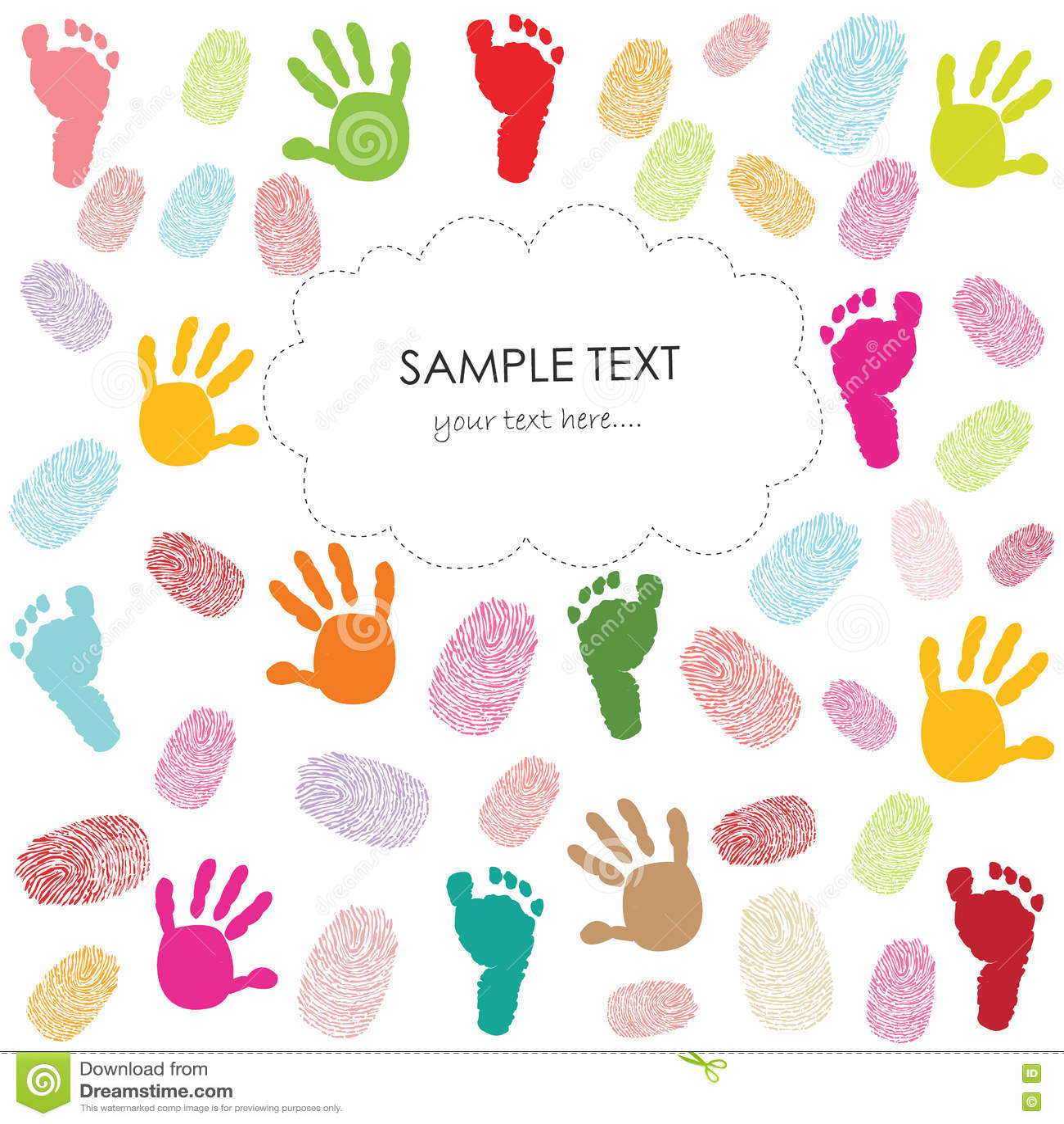Baby footprint, hand prints and finger prints kids greeting card vector illustration