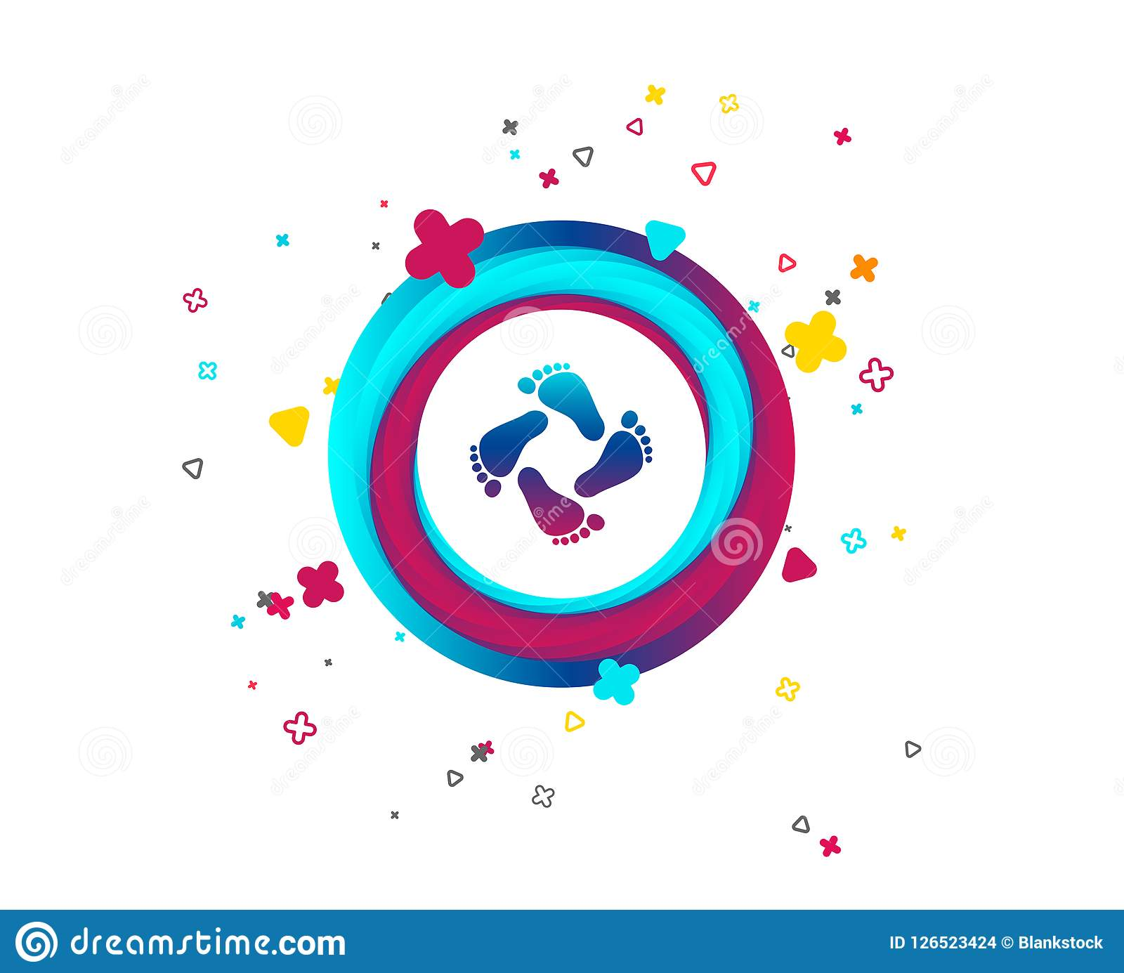 baby footprints icon child barefoot steps stock vector
