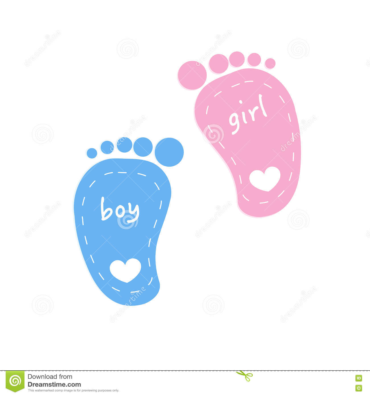 baby footprints twin baby girl and boy vector stock vector