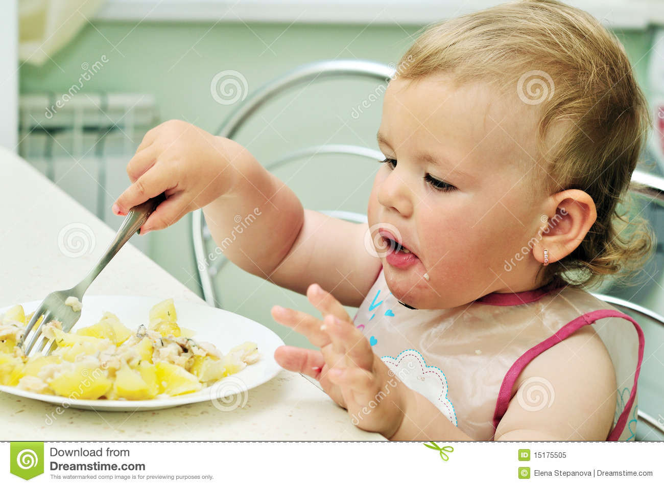 Baby With Fork Royalty Free Stock Photo Image 15175505