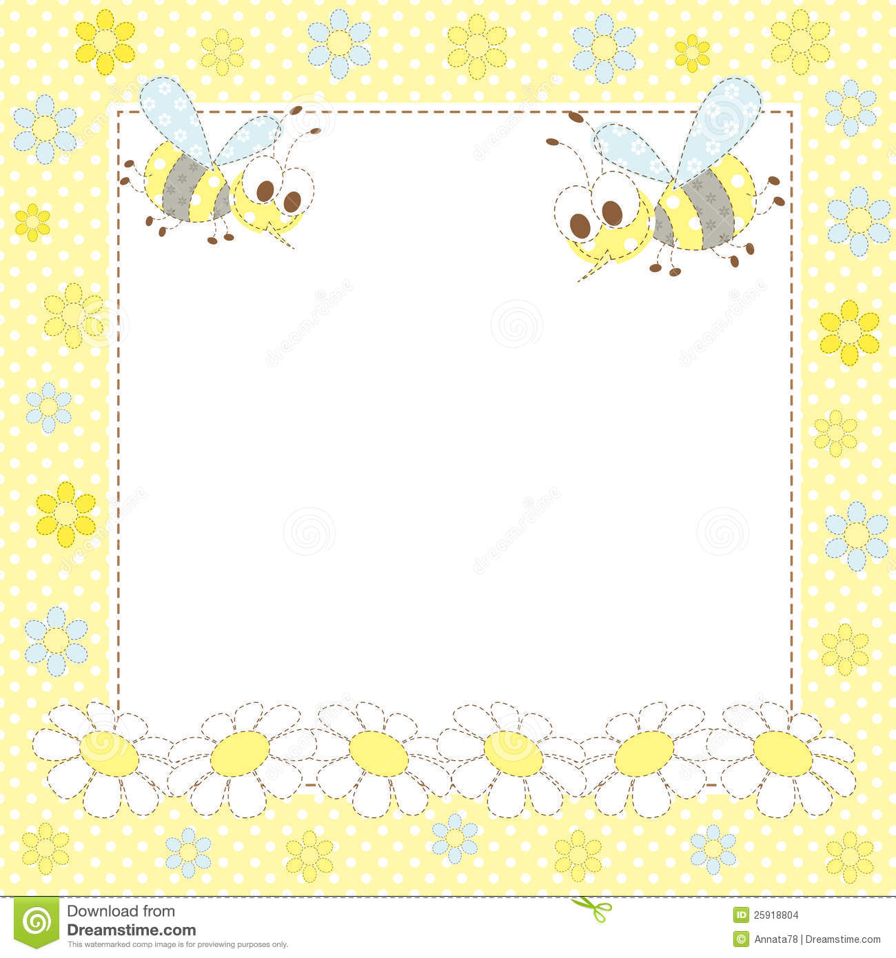 Baby Frame With Bees And Flowers Stock Vector