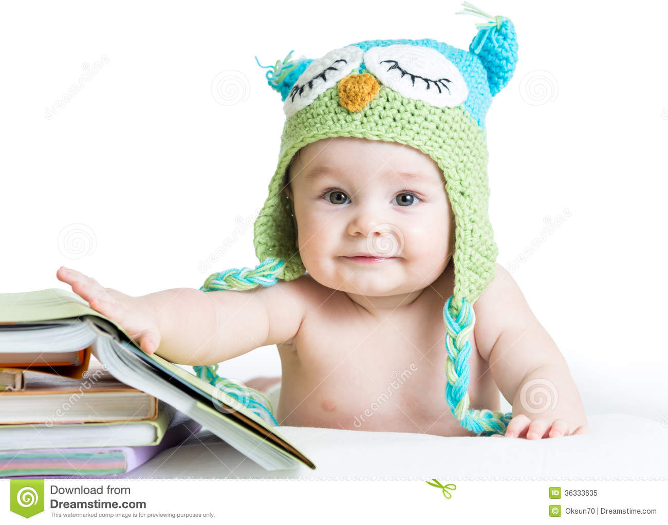Baby In Funny Knitted Hat Owl With Books Royalty Free ...