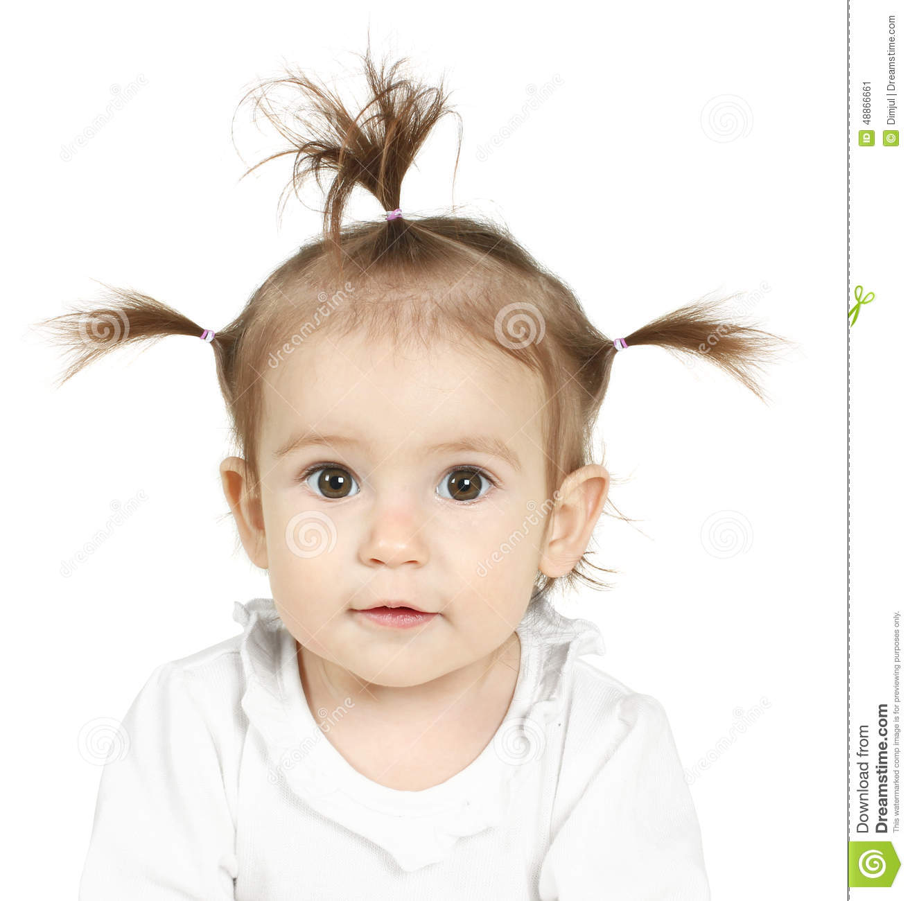 Baby With Funny Ponytail Stock Image Image Of Adorable