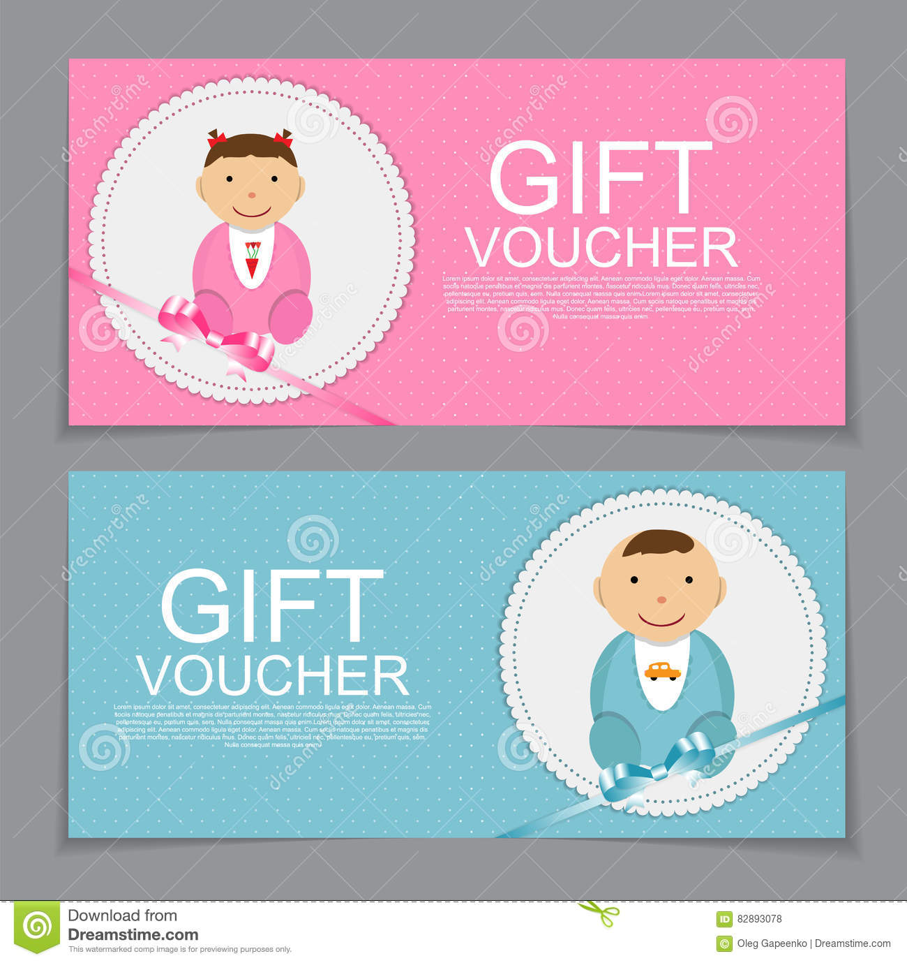 Baby Gift Voucher Template : Baby gift voucher template vector illustration stock