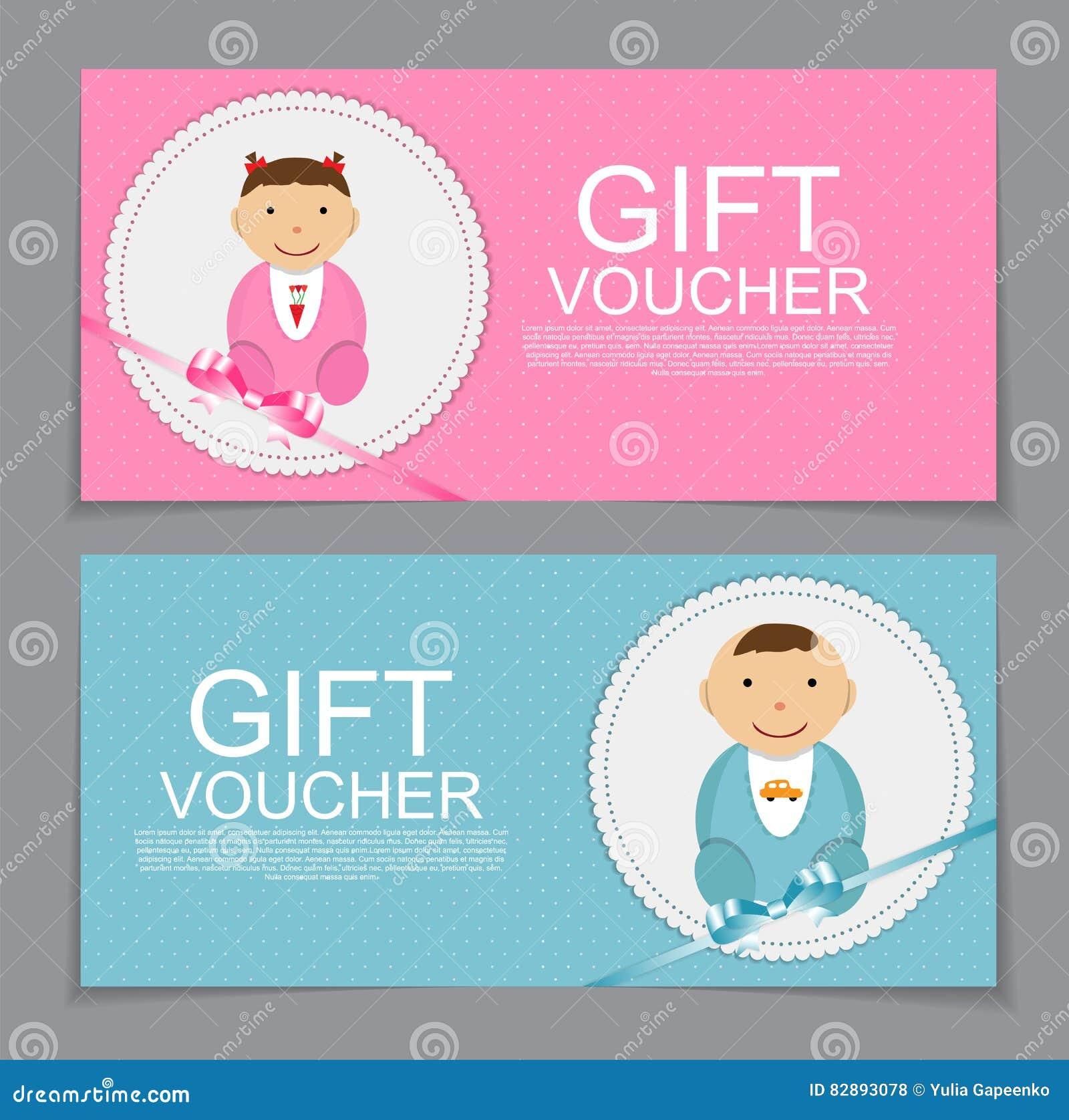 Baby Gift Vector : Baby gift voucher template vector illustration stock