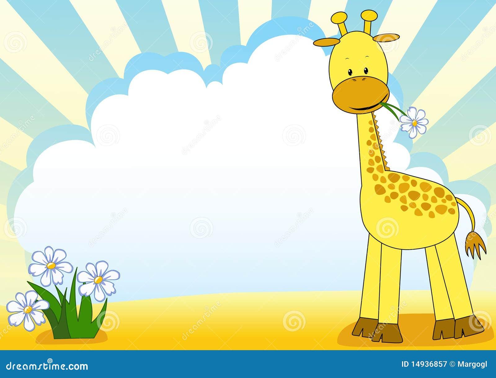 Baby giraffe and flower. stock vector. Illustration of ...