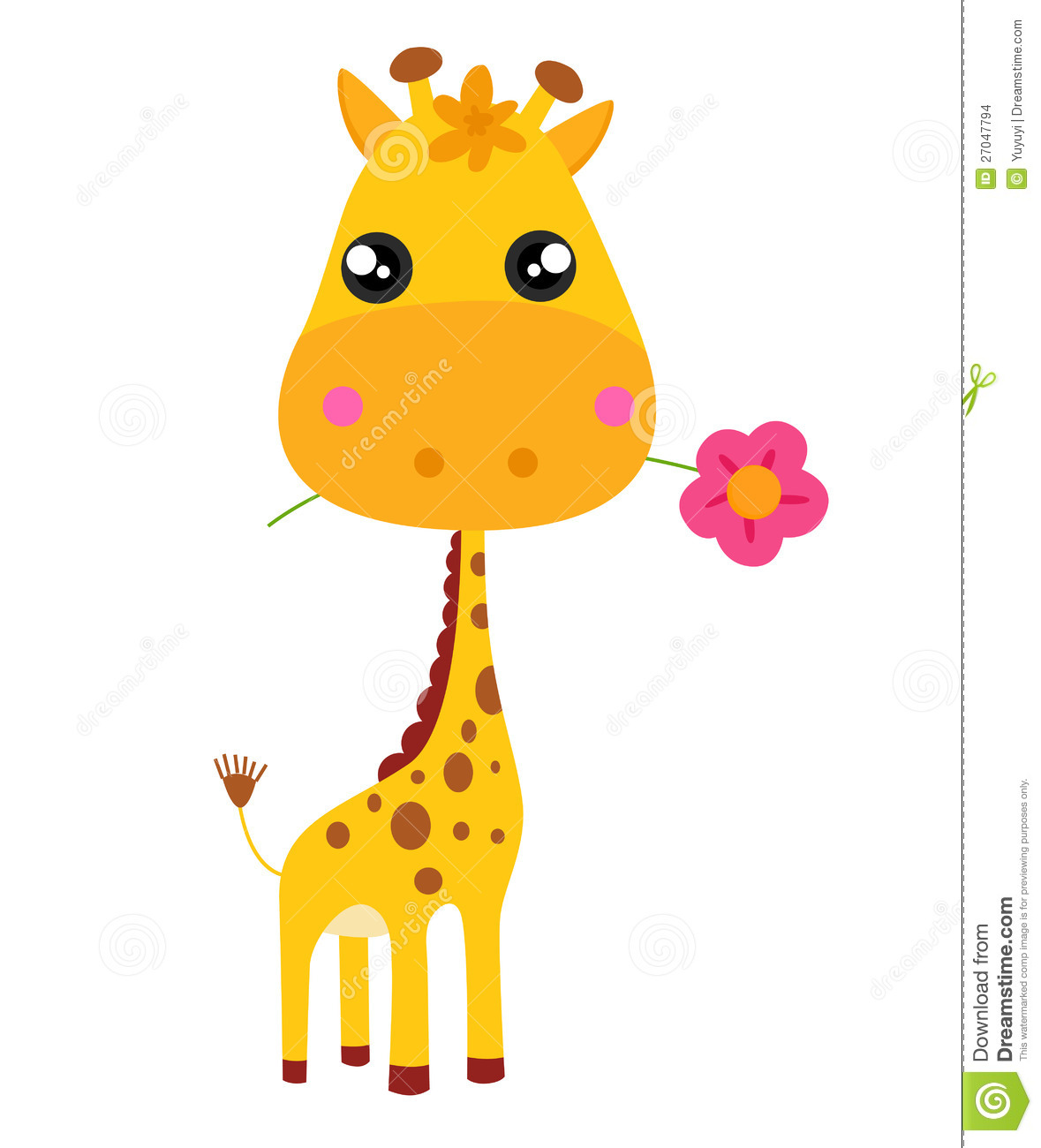 Baby Giraffe And Flower Stock Images