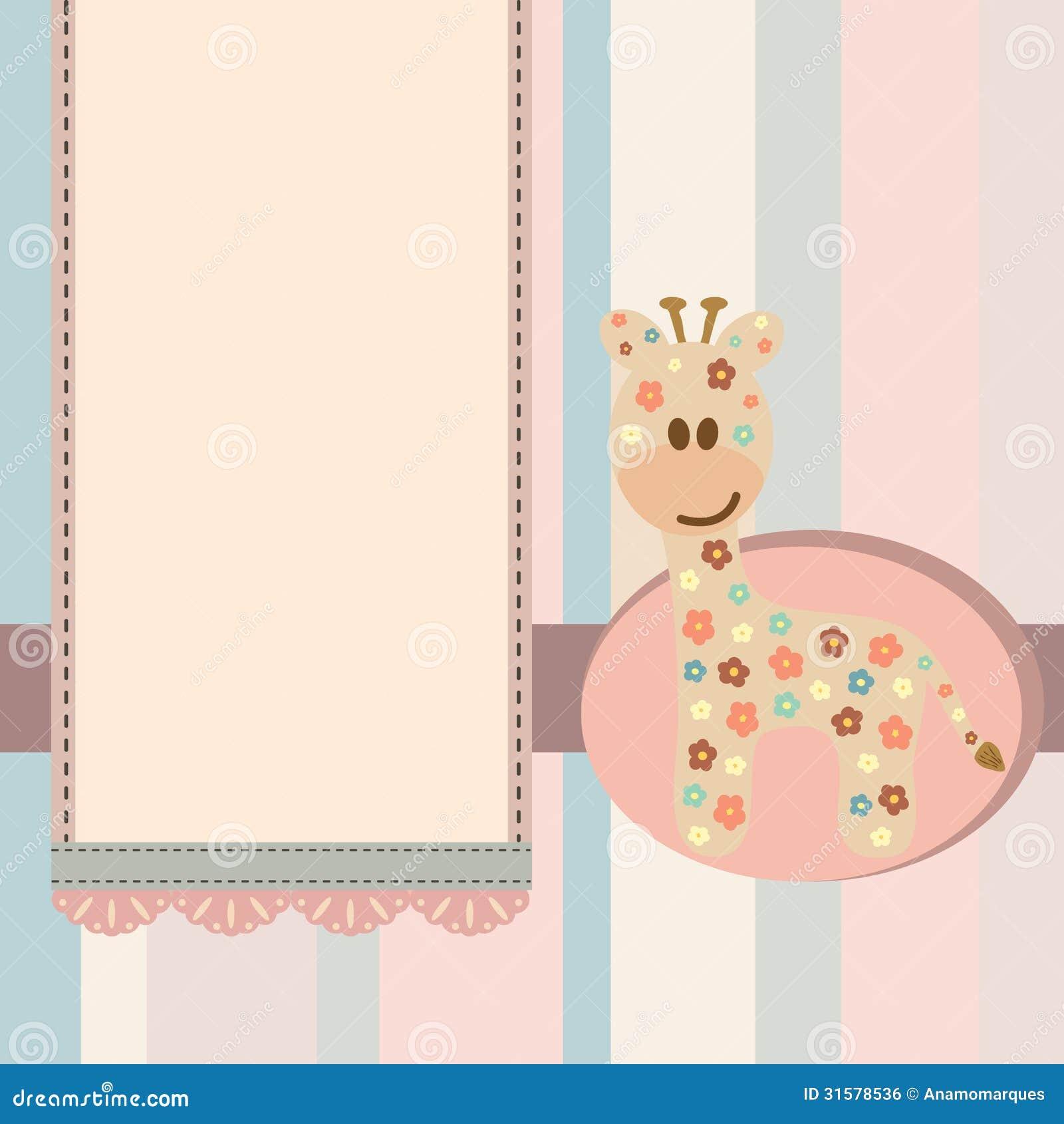 Baby Giraffe Label Royalty Free Stock Image - Image: 31578536