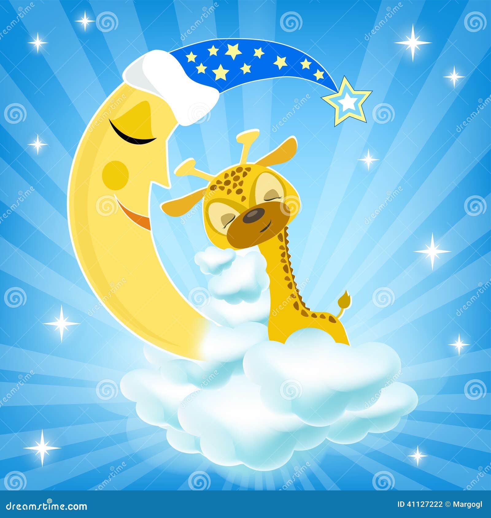 baby giraffe sleeping on the cloud stock vector image