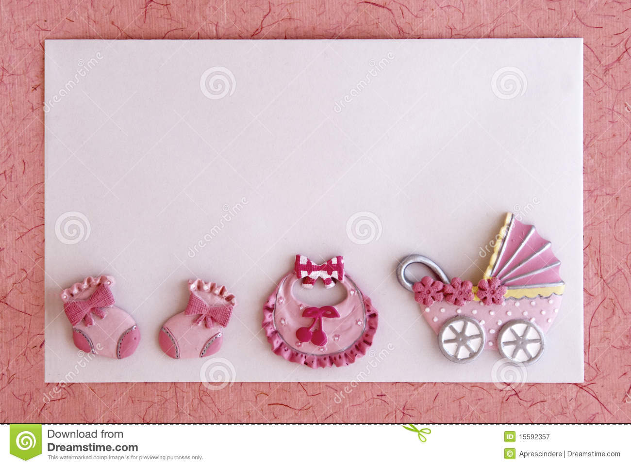 baby girl announcement card stock image