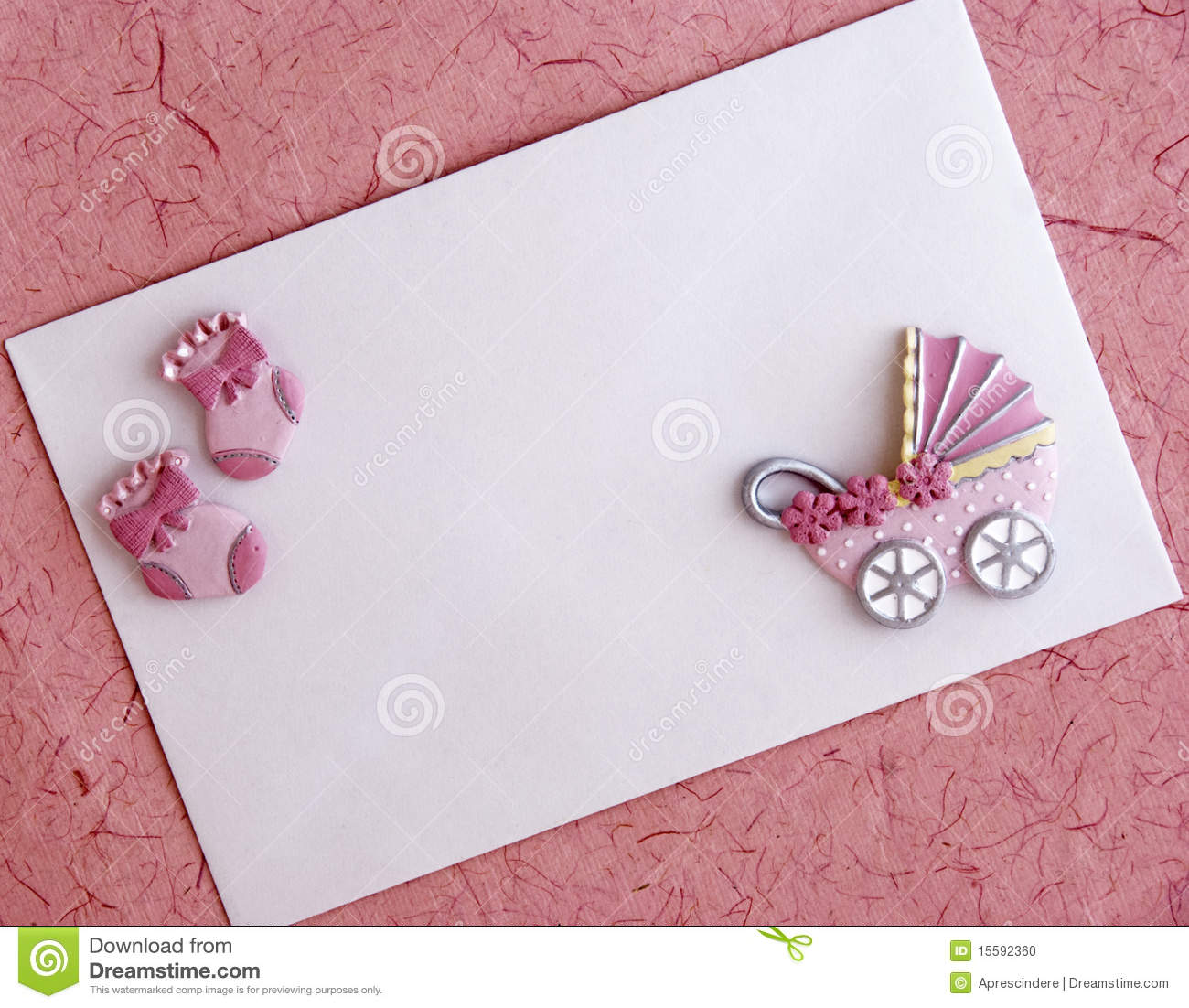 baby girl announcement card stock photo
