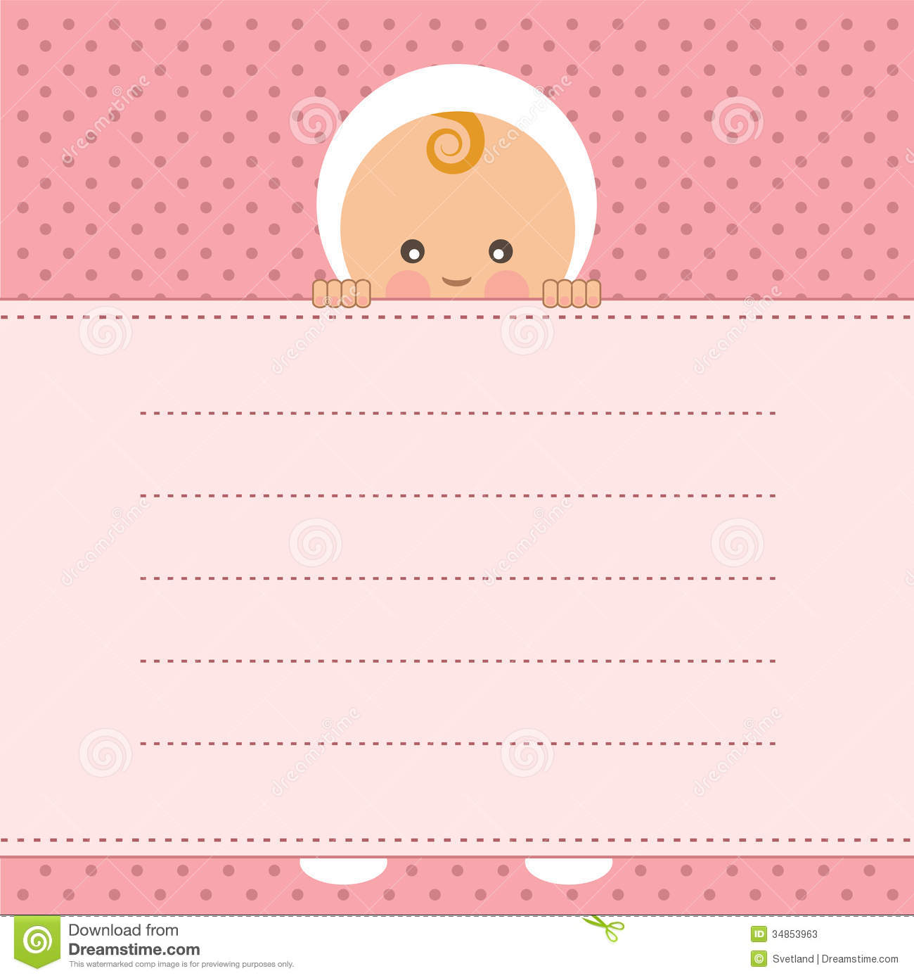 baby girl announcement card  stock vector