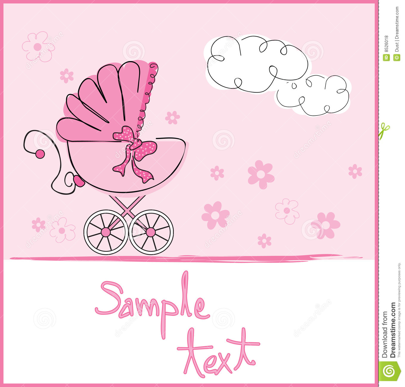 Baby girl arrival stock vector. Illustration of carriage - 5